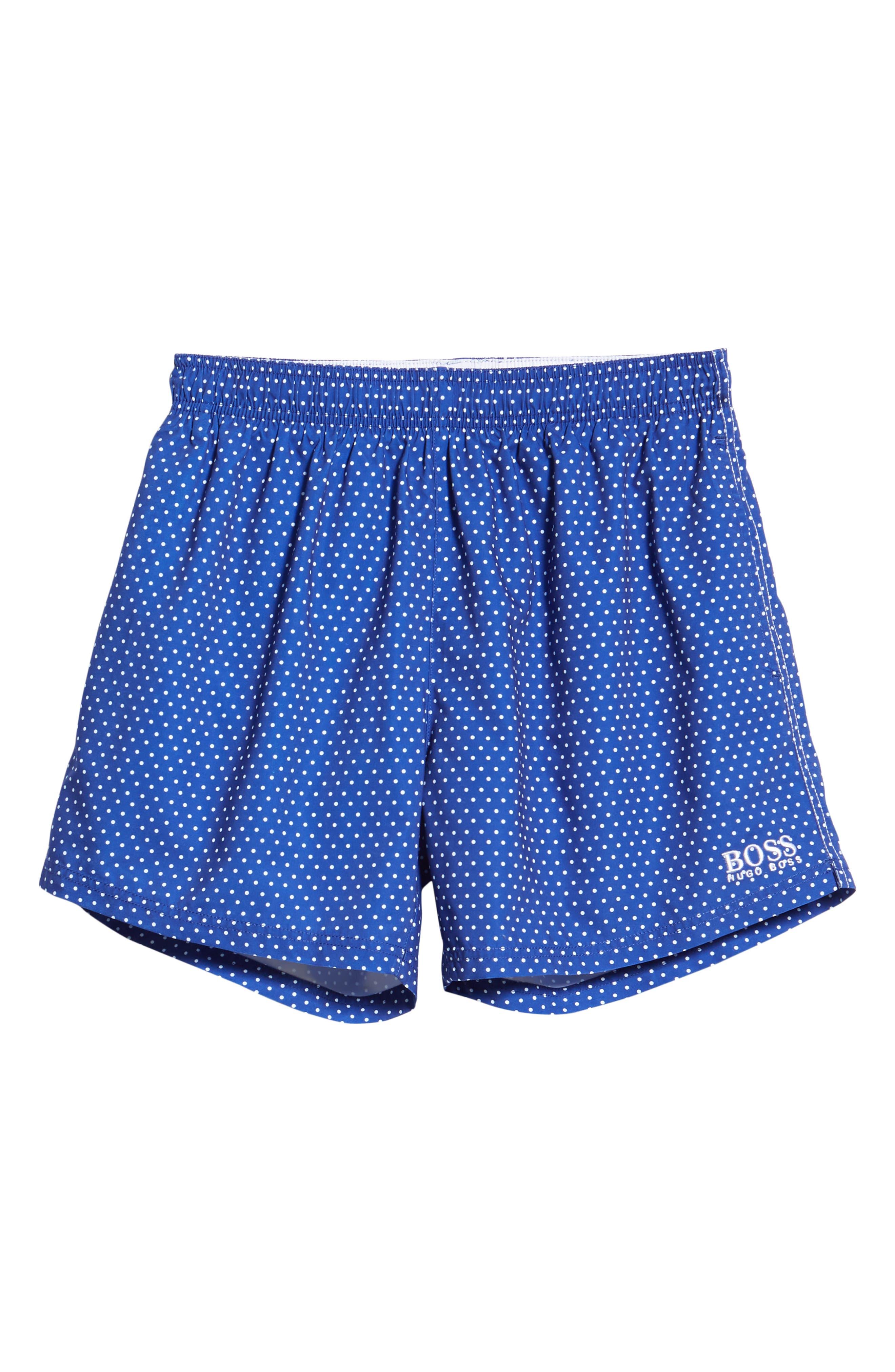 BOSS, Pike Regular Fit Polka Dot Swim Shorts, Alternate thumbnail 6, color, BLUE