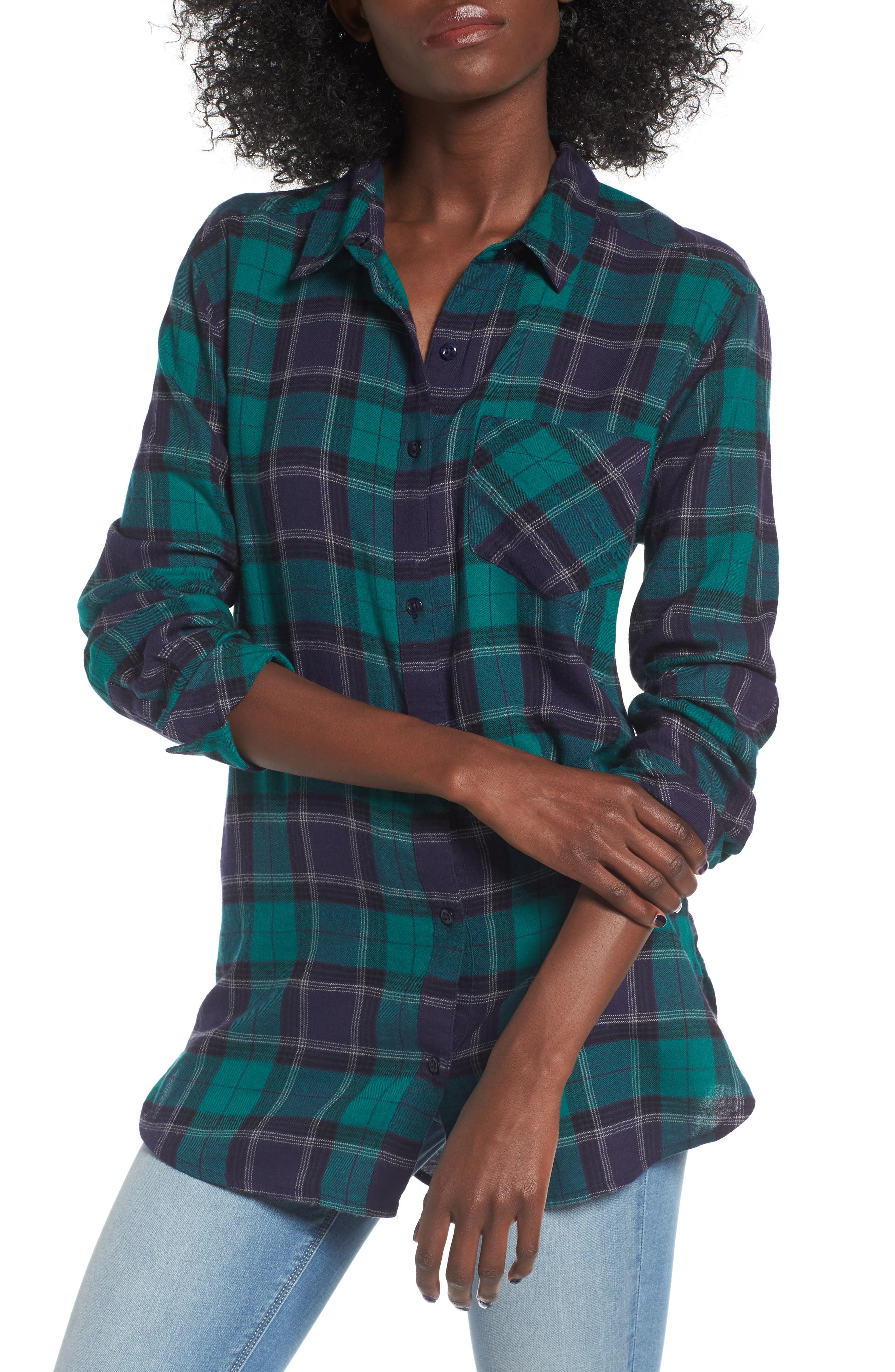 BP., Plaid Cotton Blend Shirt, Main thumbnail 1, color, 301