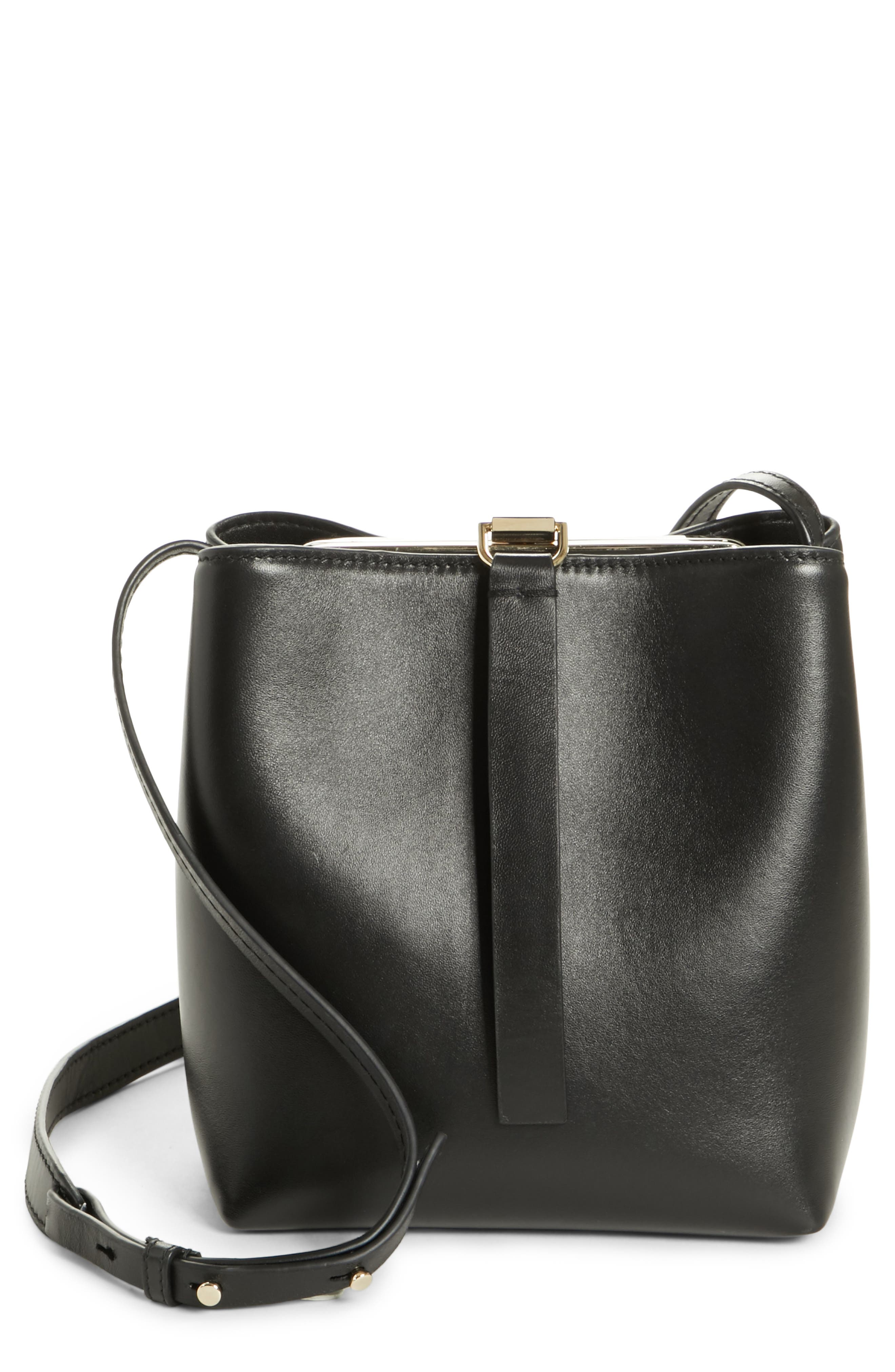 PROENZA SCHOULER, Frame Leather Crossbody Bag, Main thumbnail 1, color, BLACK/ BLACK