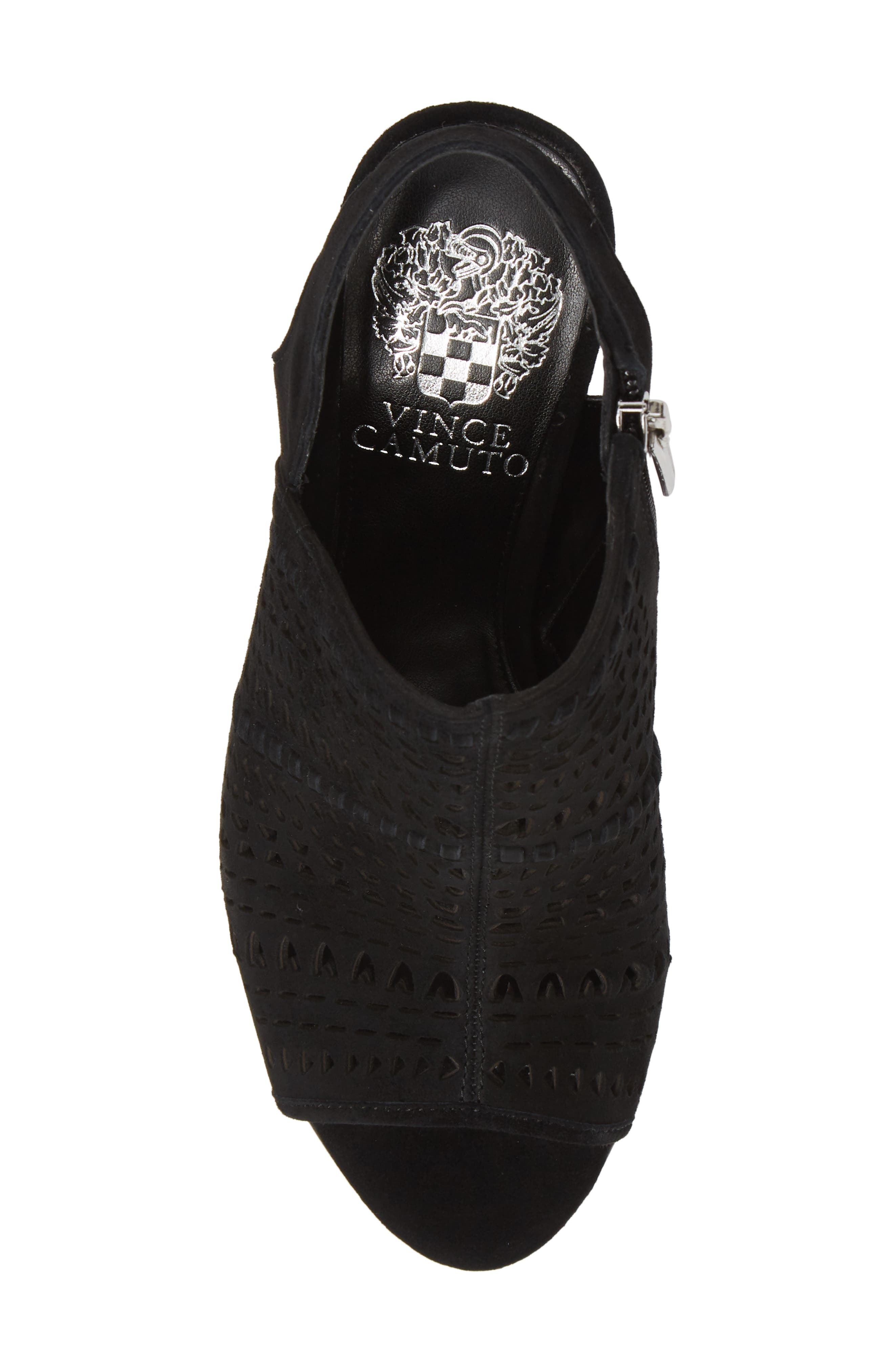 VINCE CAMUTO, Derechie Perforated Shield Sandal, Alternate thumbnail 5, color, BLACK SUEDE