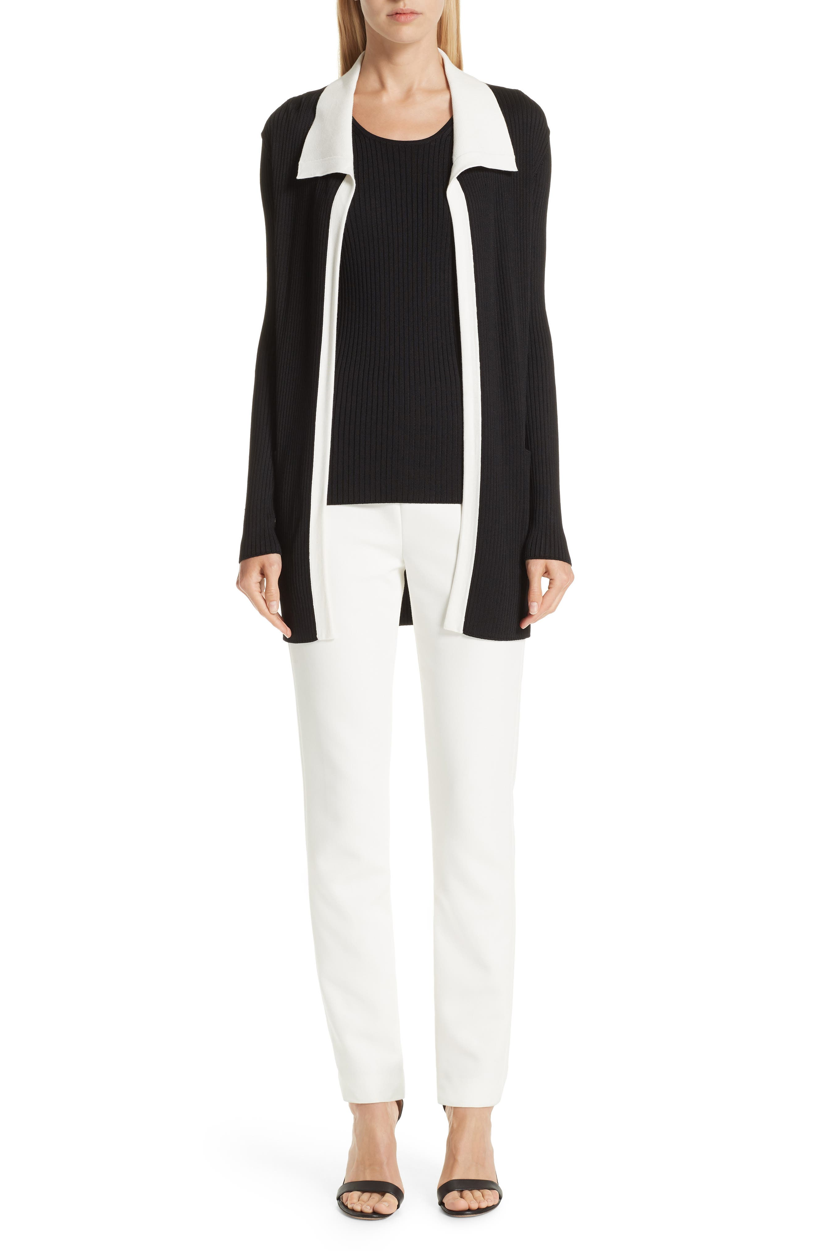ST. JOHN COLLECTION Bella Double Weave Skinny Pants, Main, color, CREAM