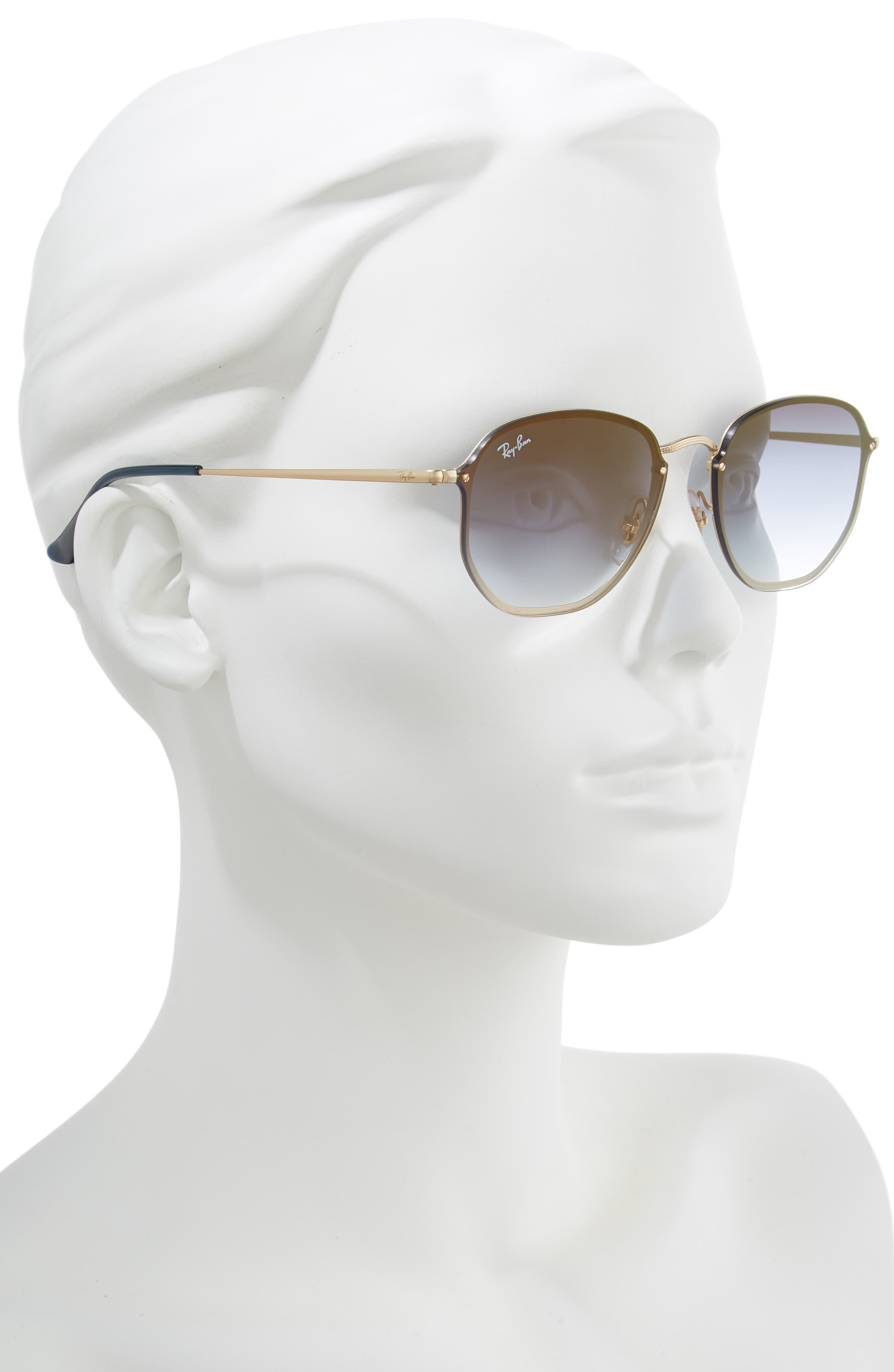 RAY-BAN, 58mm Round Sunglasses, Alternate thumbnail 2, color, GOLD/ TRANSPARENT BLUE
