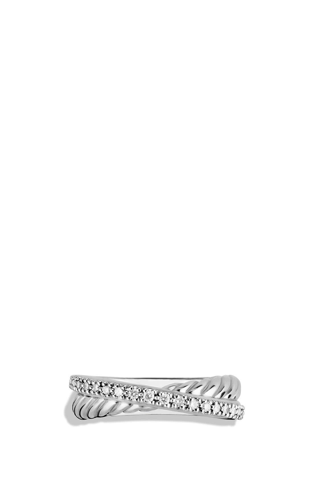 DAVID YURMAN, 'Crossover' Ring with Diamonds, Alternate thumbnail 3, color, SILVER