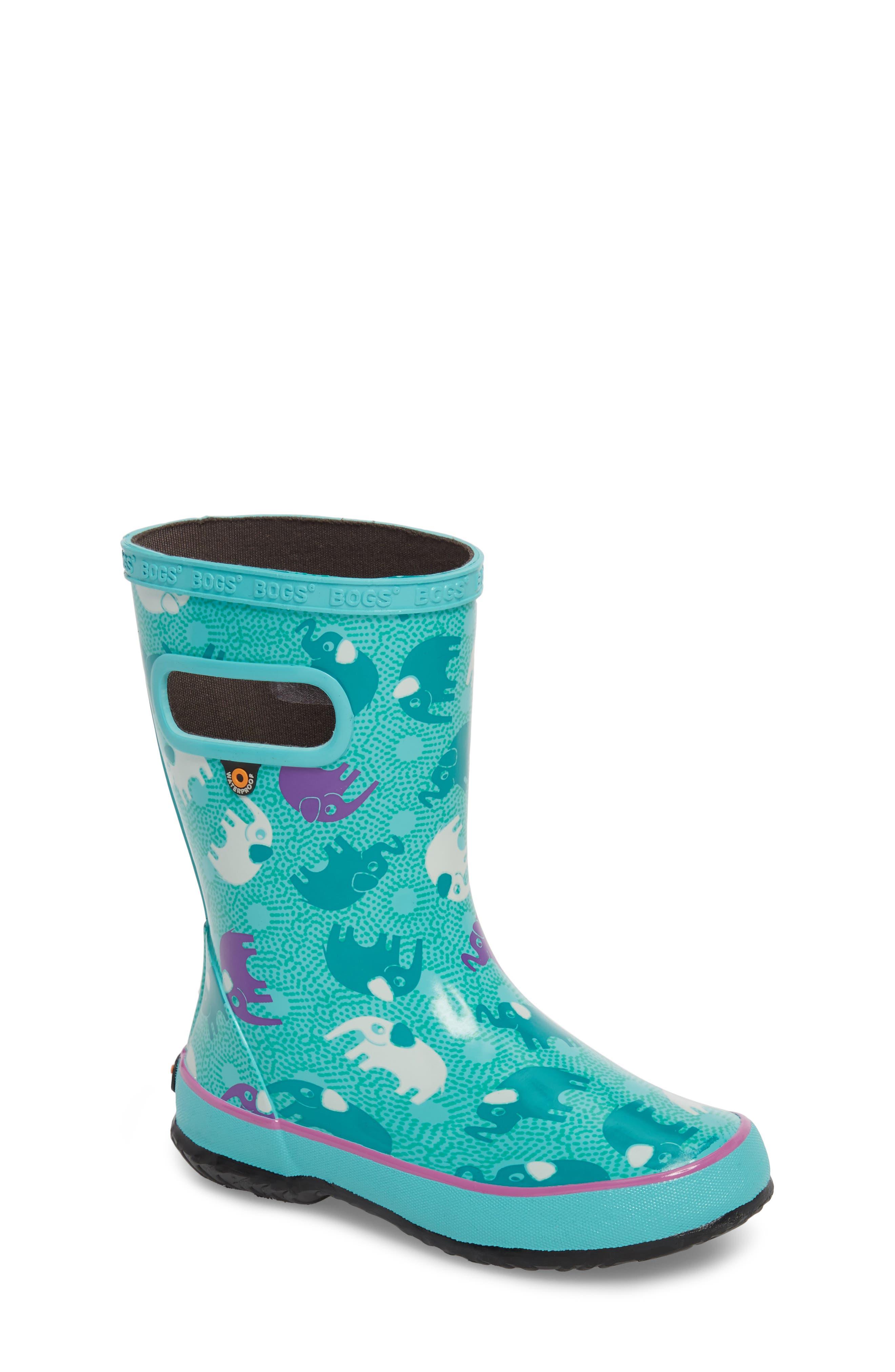 BOGS, Skipper Elephant Print Rubber Waterproof Rain Boot, Main thumbnail 1, color, TURQUOISE MULTI