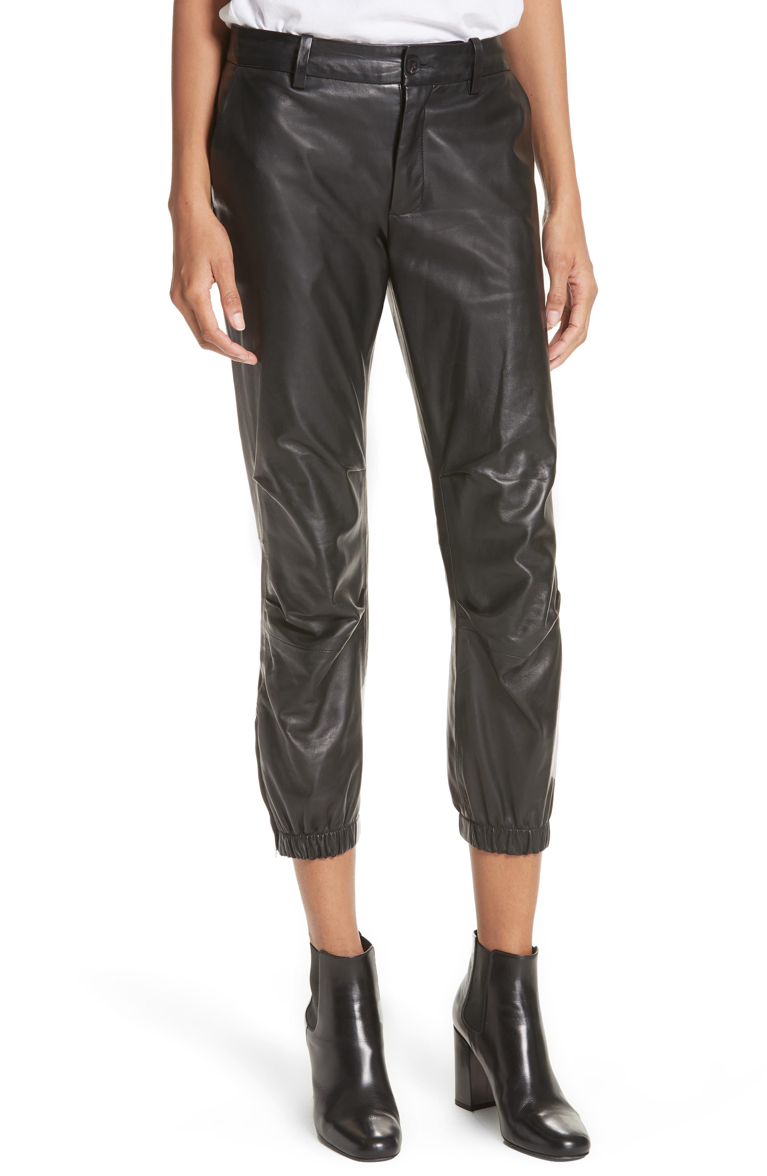 NILI LOTAN, French Military Leather Crop Pants, Main thumbnail 1, color, BLACK