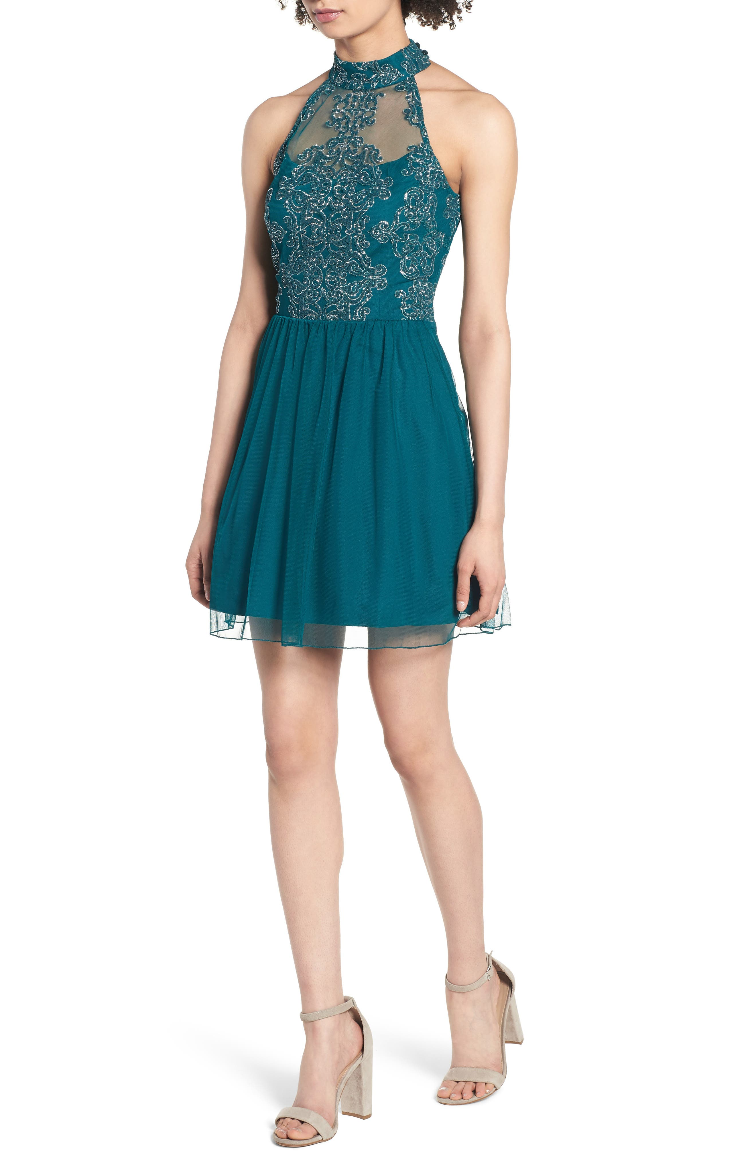 SPEECHLESS Lace Fit & Flare Dress, Main, color, EMERALD