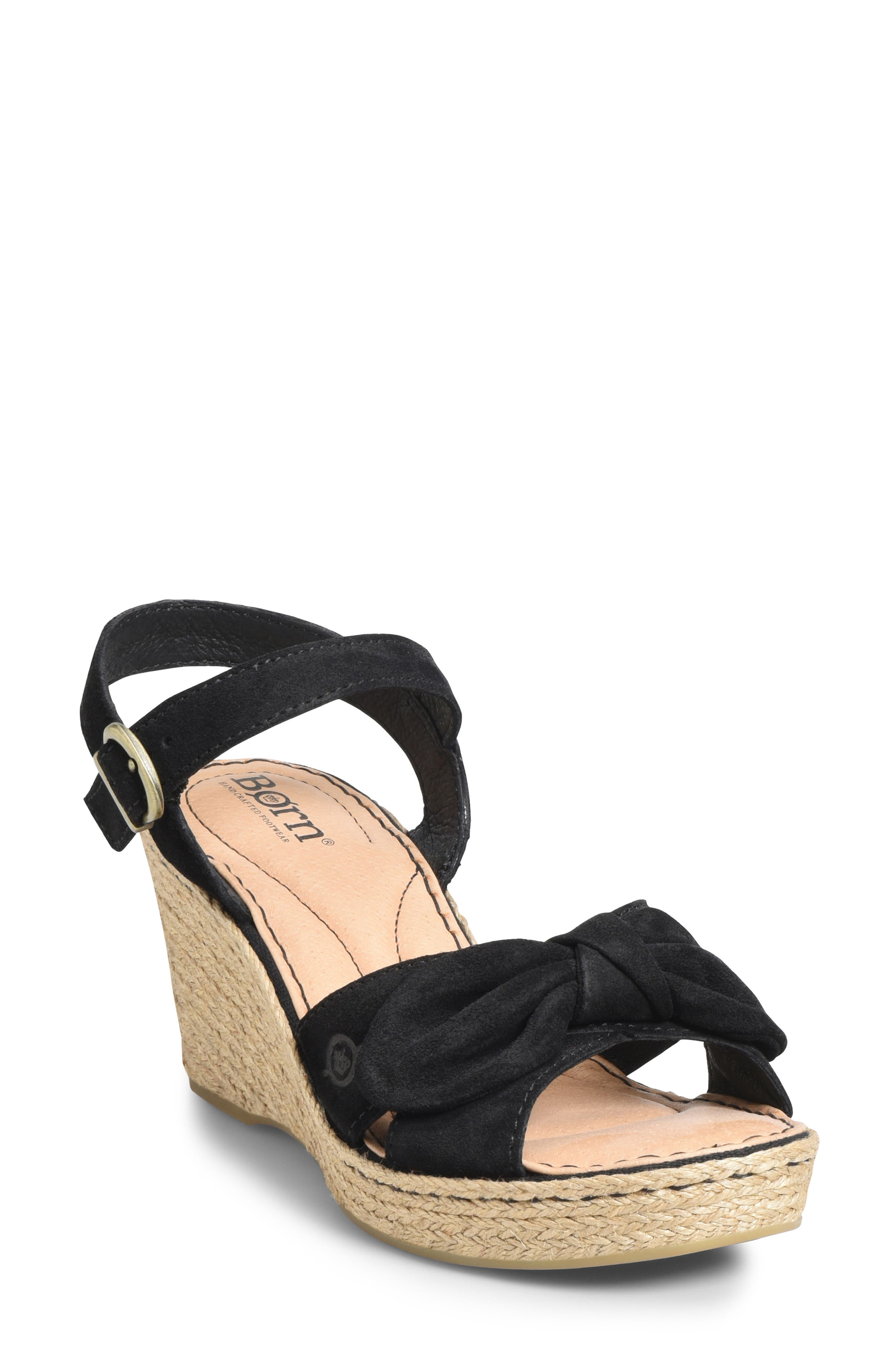 BØRN, Monticello Knotted Wedge Sandal, Main thumbnail 1, color, BLACK SUEDE