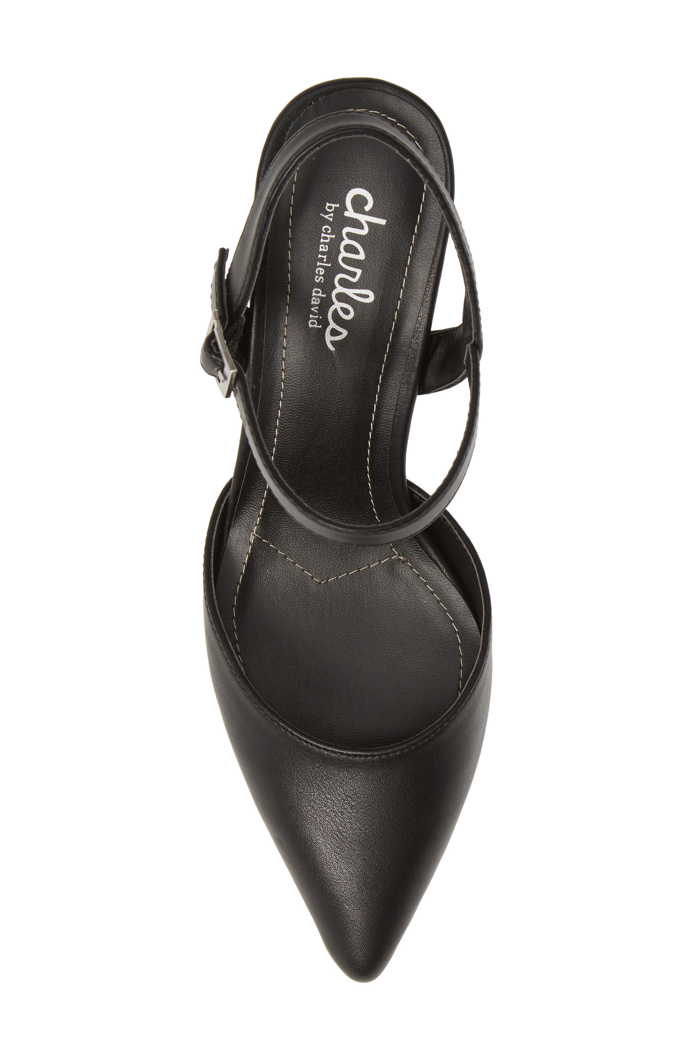 CHARLES BY CHARLES DAVID, Ankle Strap Pump, Alternate thumbnail 5, color, BLACK FAUX LEATHER