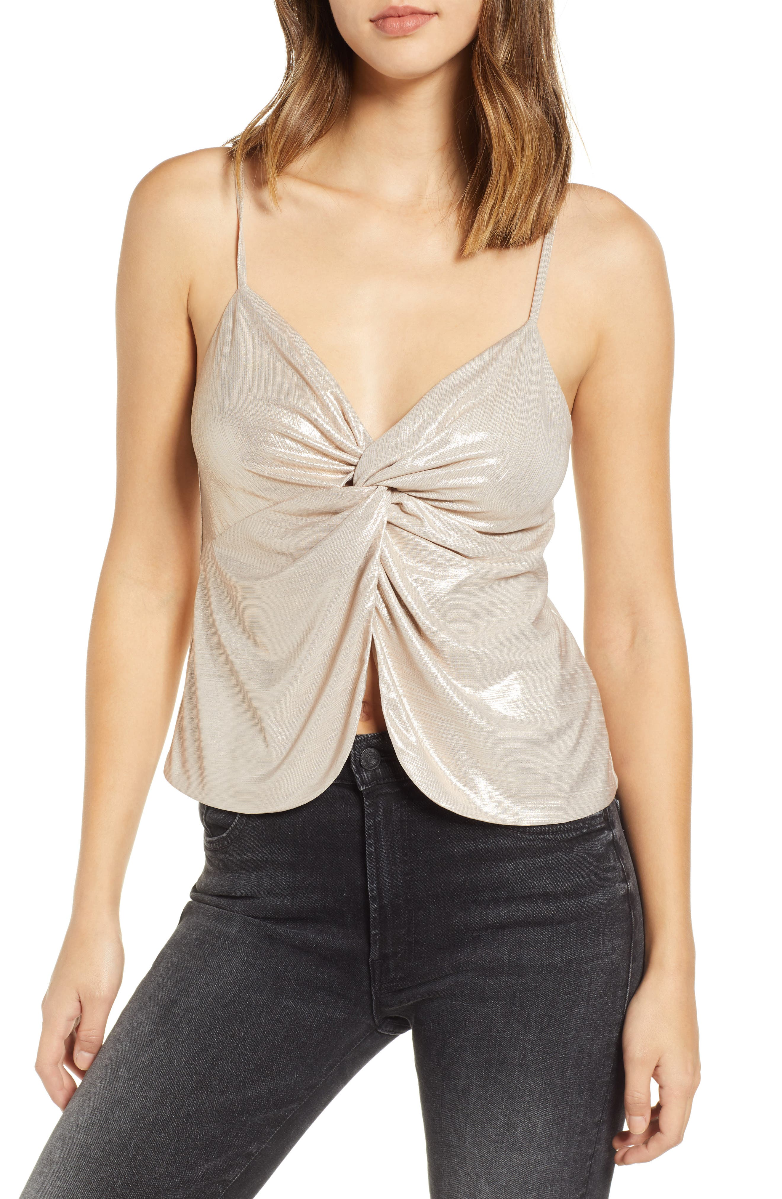 LEITH Knot Front Metallic Camisole, Main, color, 710