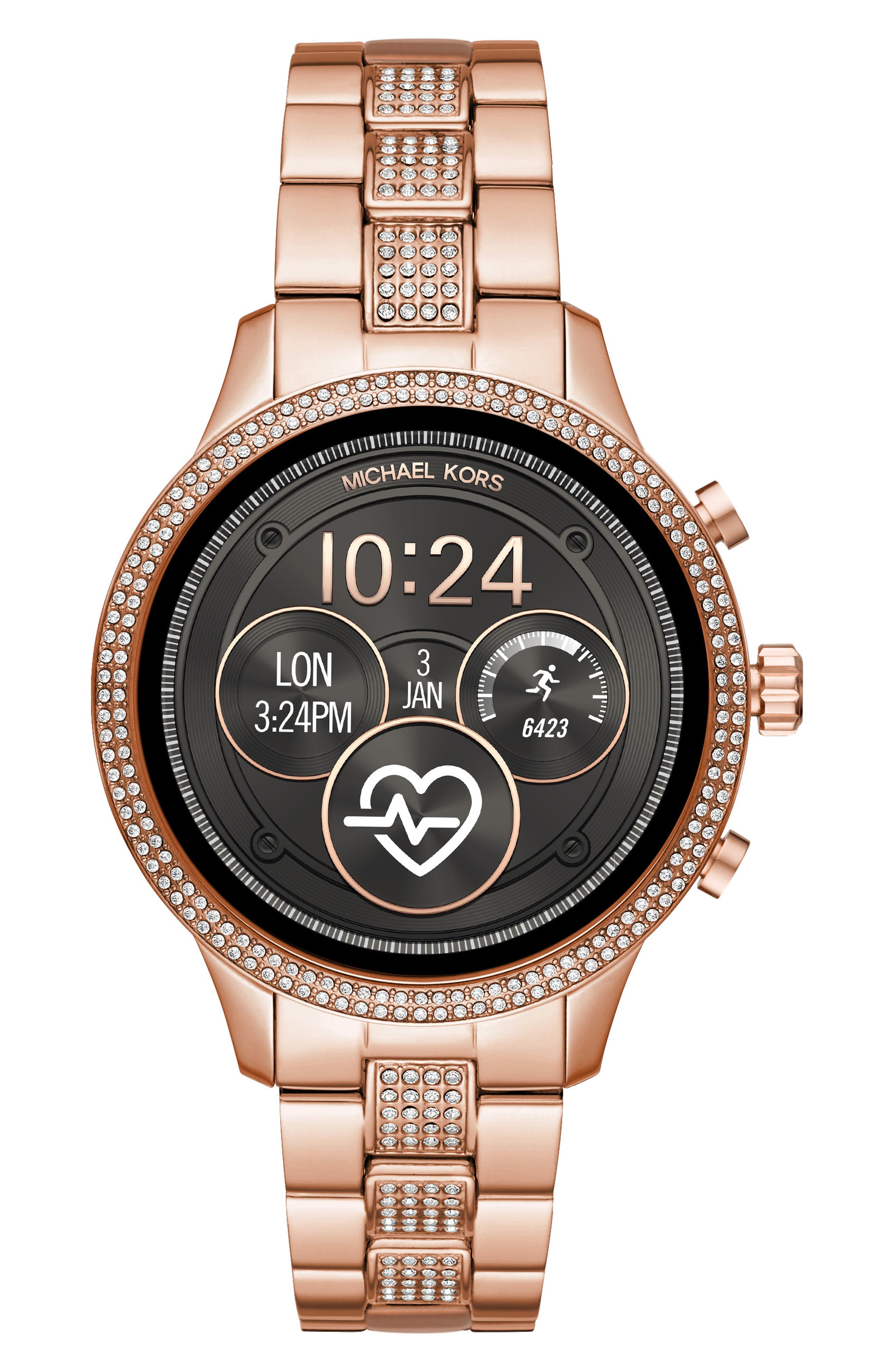 MICHAEL KORS, MICHAEL Michael Kors Access Runway Smart Bracelet Watch, 41mm, Main thumbnail 1, color, ROSE GOLD