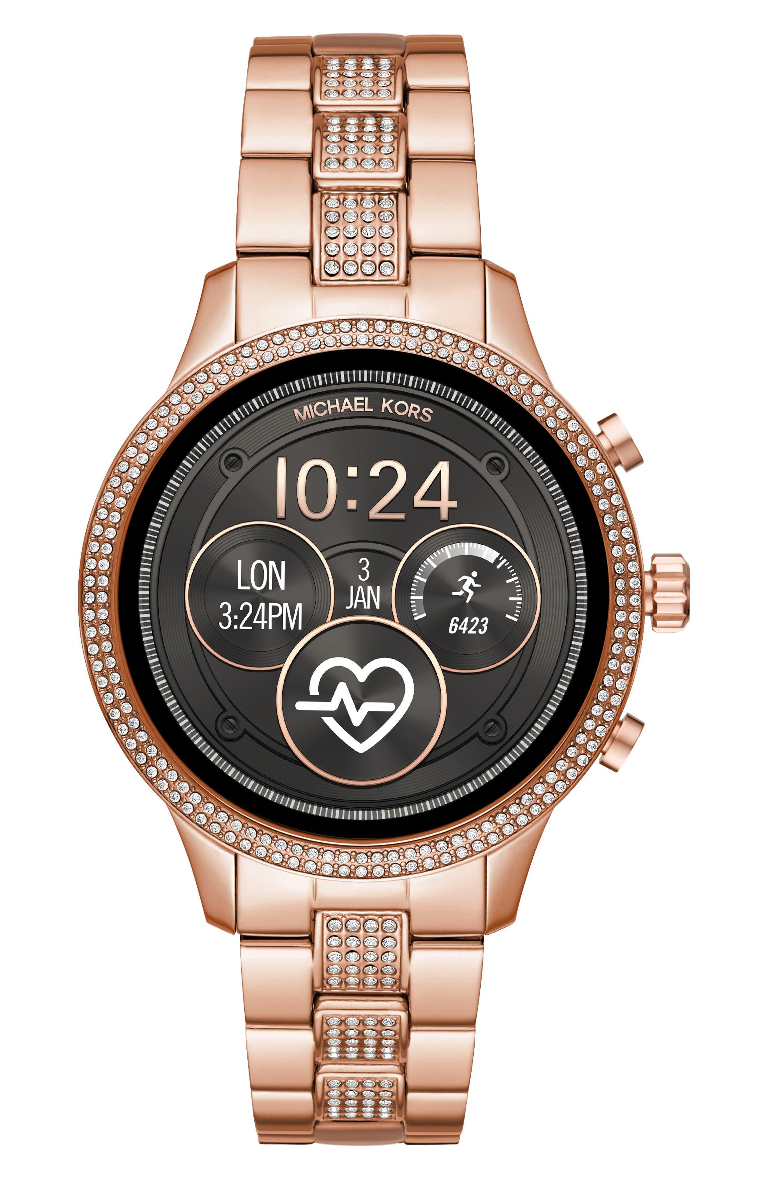 MICHAEL KORS MICHAEL Michael Kors Access Runway Smart Bracelet Watch, 41mm, Main, color, ROSE GOLD