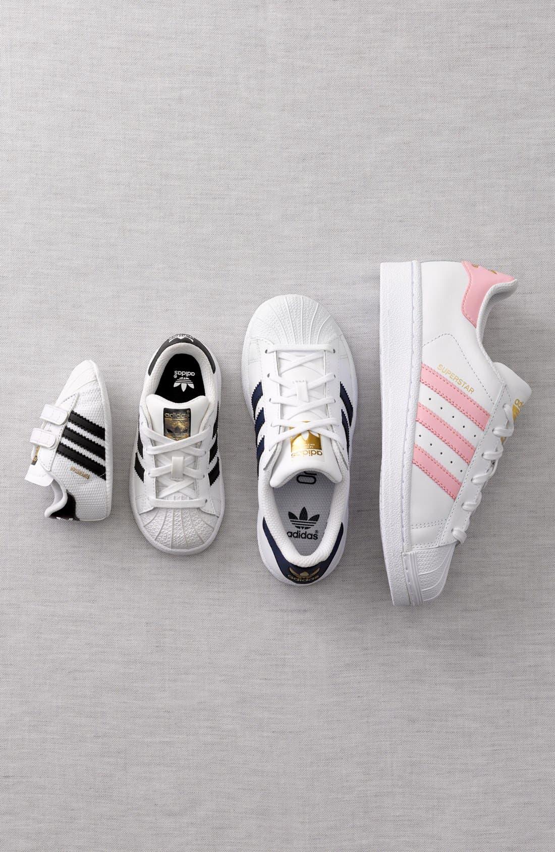 ADIDAS, Superstar Sneaker, Alternate thumbnail 5, color, WHITE/ BLACK