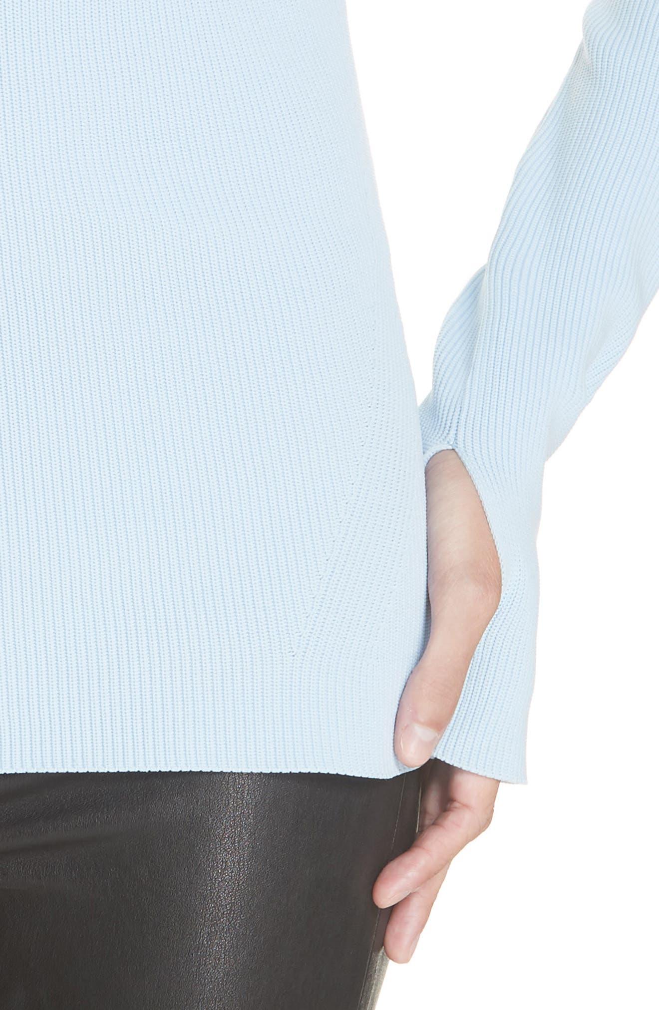 HELMUT LANG, Crewneck Sweater, Alternate thumbnail 4, color, LIGHT WAVE