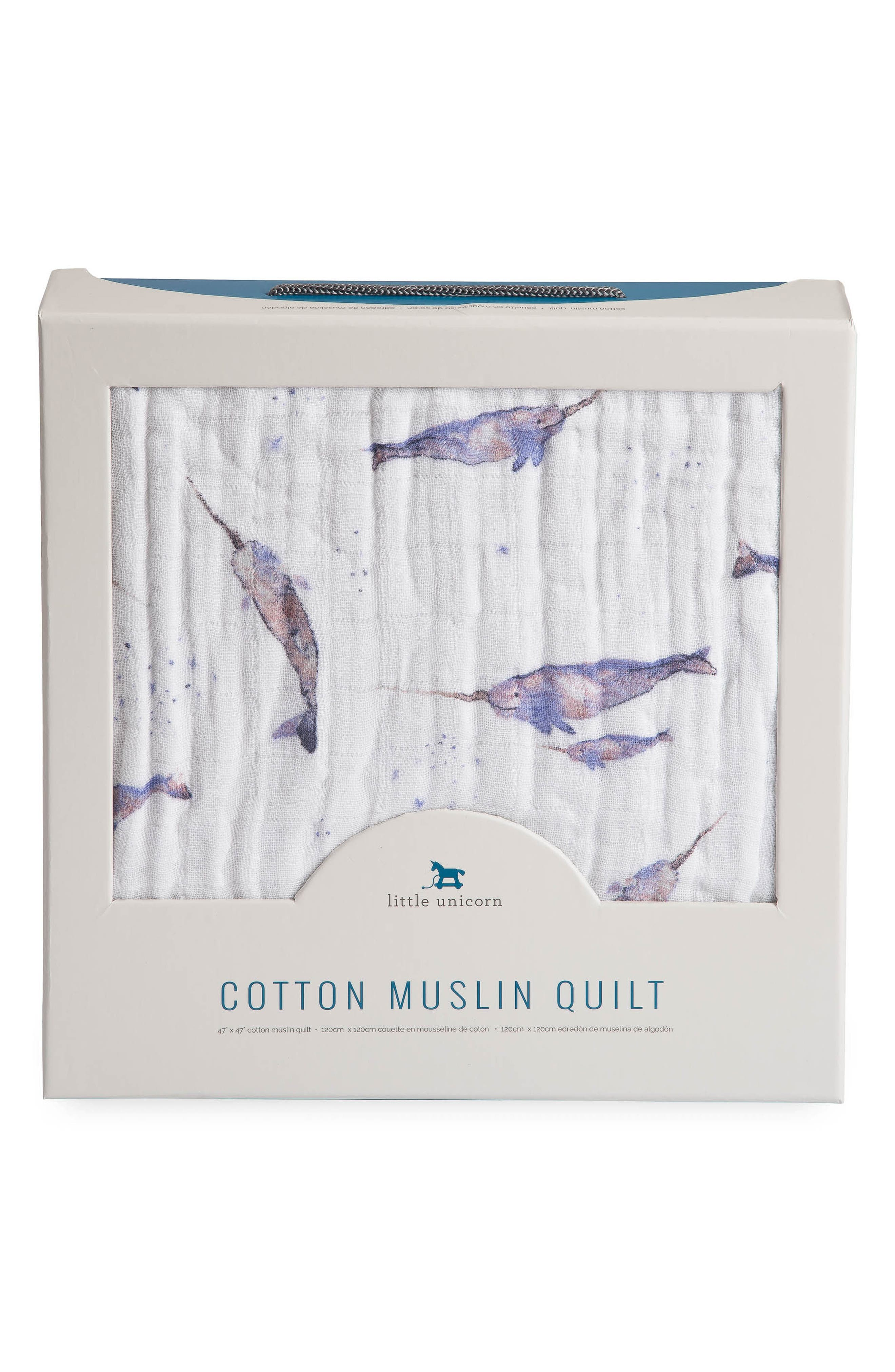 LITTLE UNICORN, Cotton Muslin Quilt, Alternate thumbnail 3, color, NARWHAL