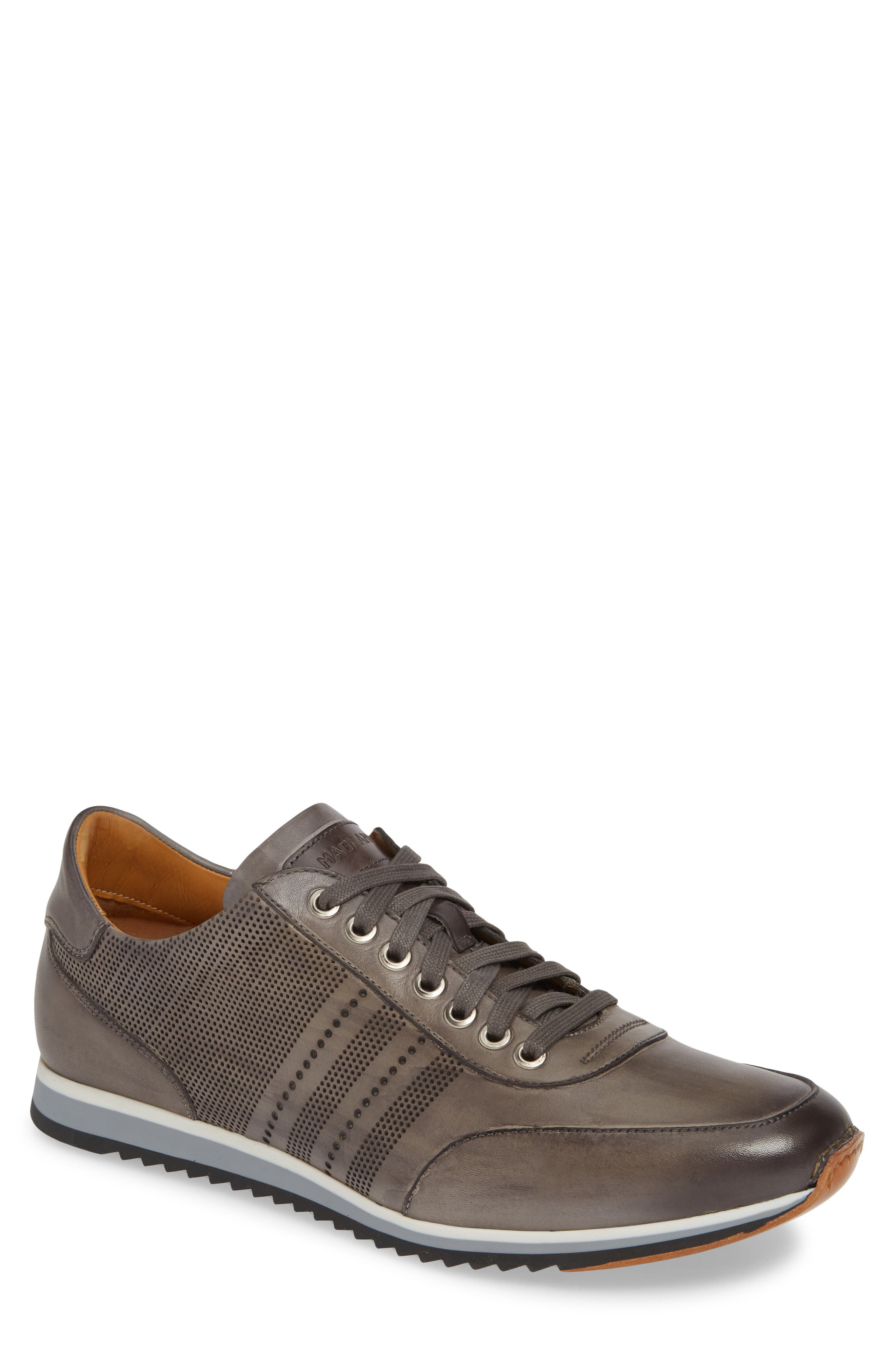 MAGNANNI, Merino Sneaker, Main thumbnail 1, color, GREY LEATHER