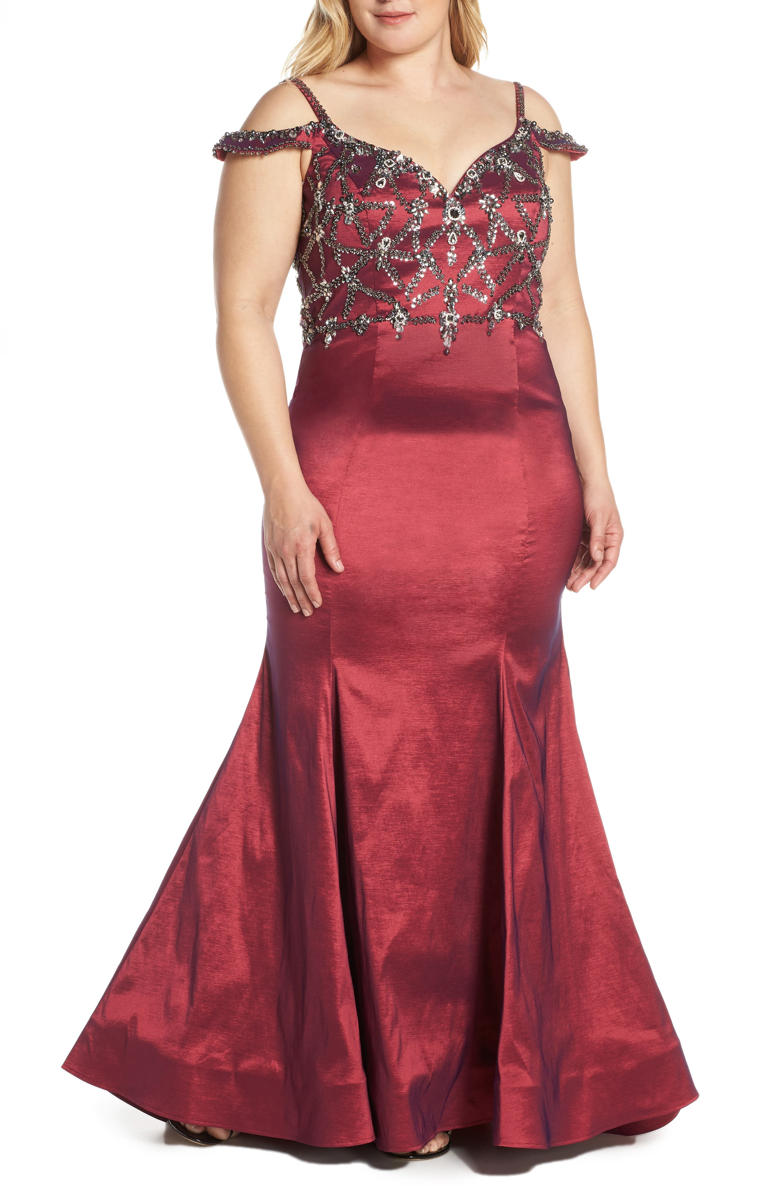 Plus Size MAC Duggal Jeweled Bodice Satin Mermaid Gown, Red