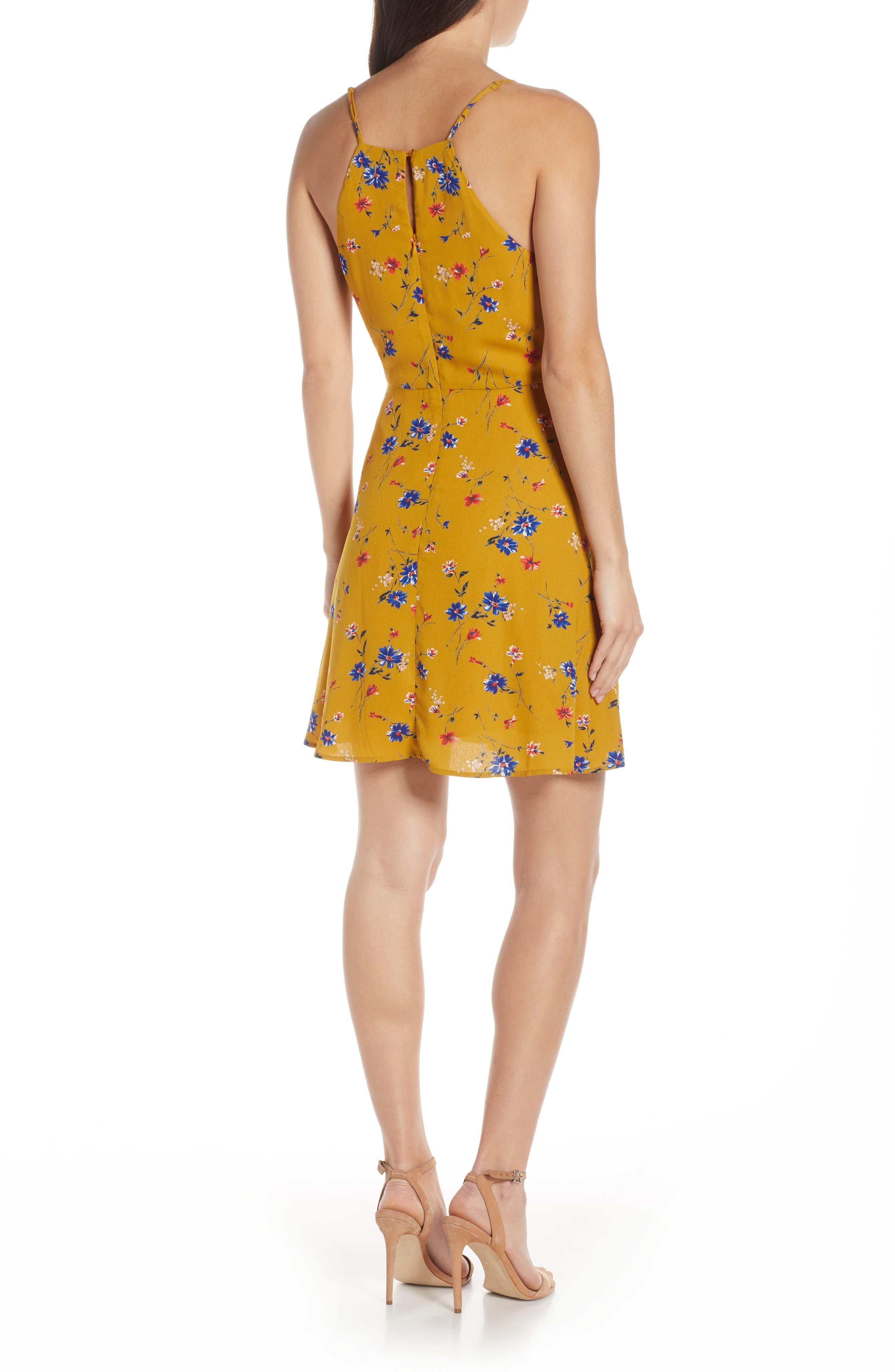19 COOPER, Floral Print Tie Front Dress, Alternate thumbnail 2, color, MUSTARD FLORAL