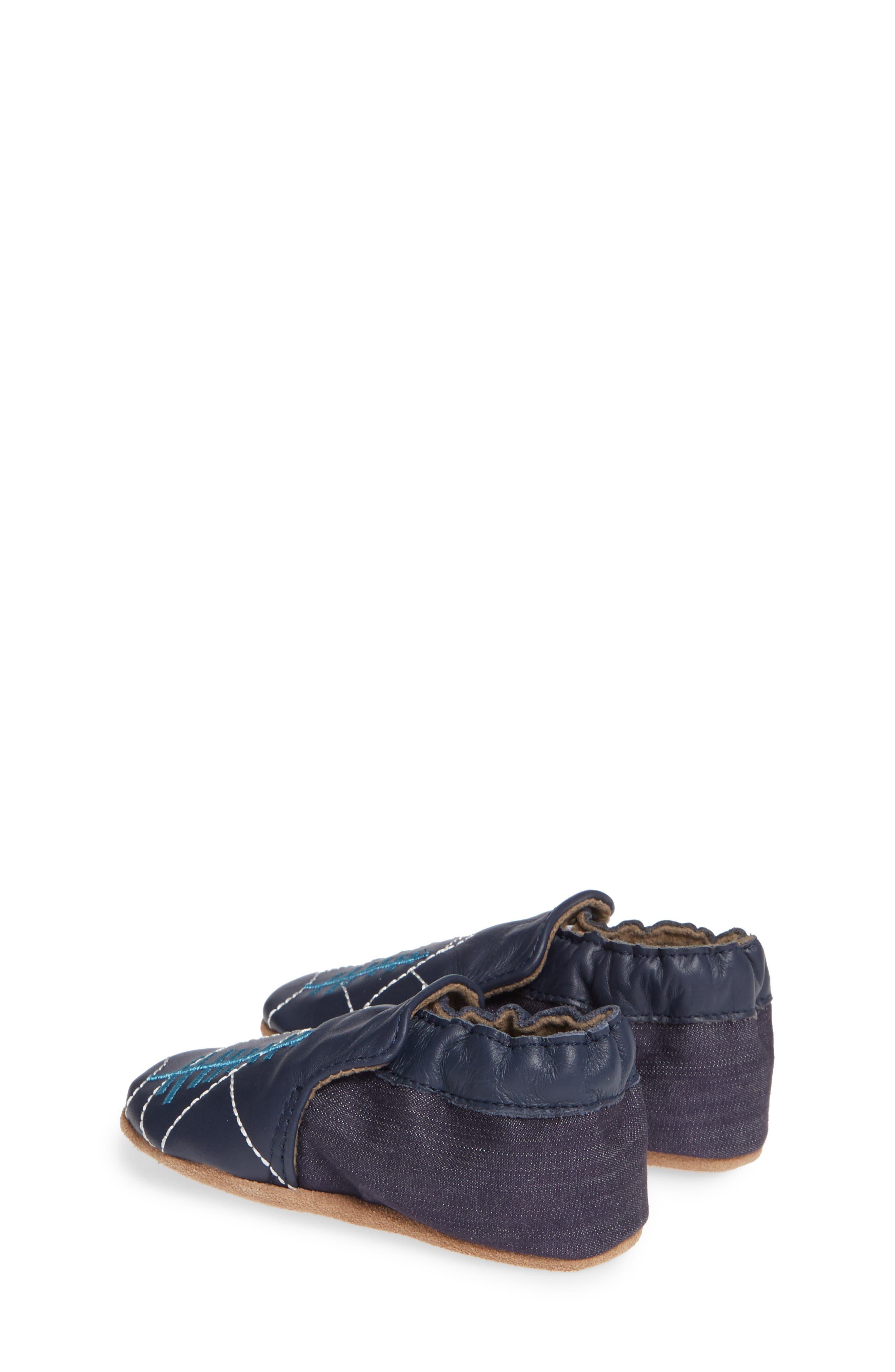 ROBEEZ<SUP>®</SUP>, Mountain Explorer Moccasin Crib Shoe, Alternate thumbnail 3, color, NAVY
