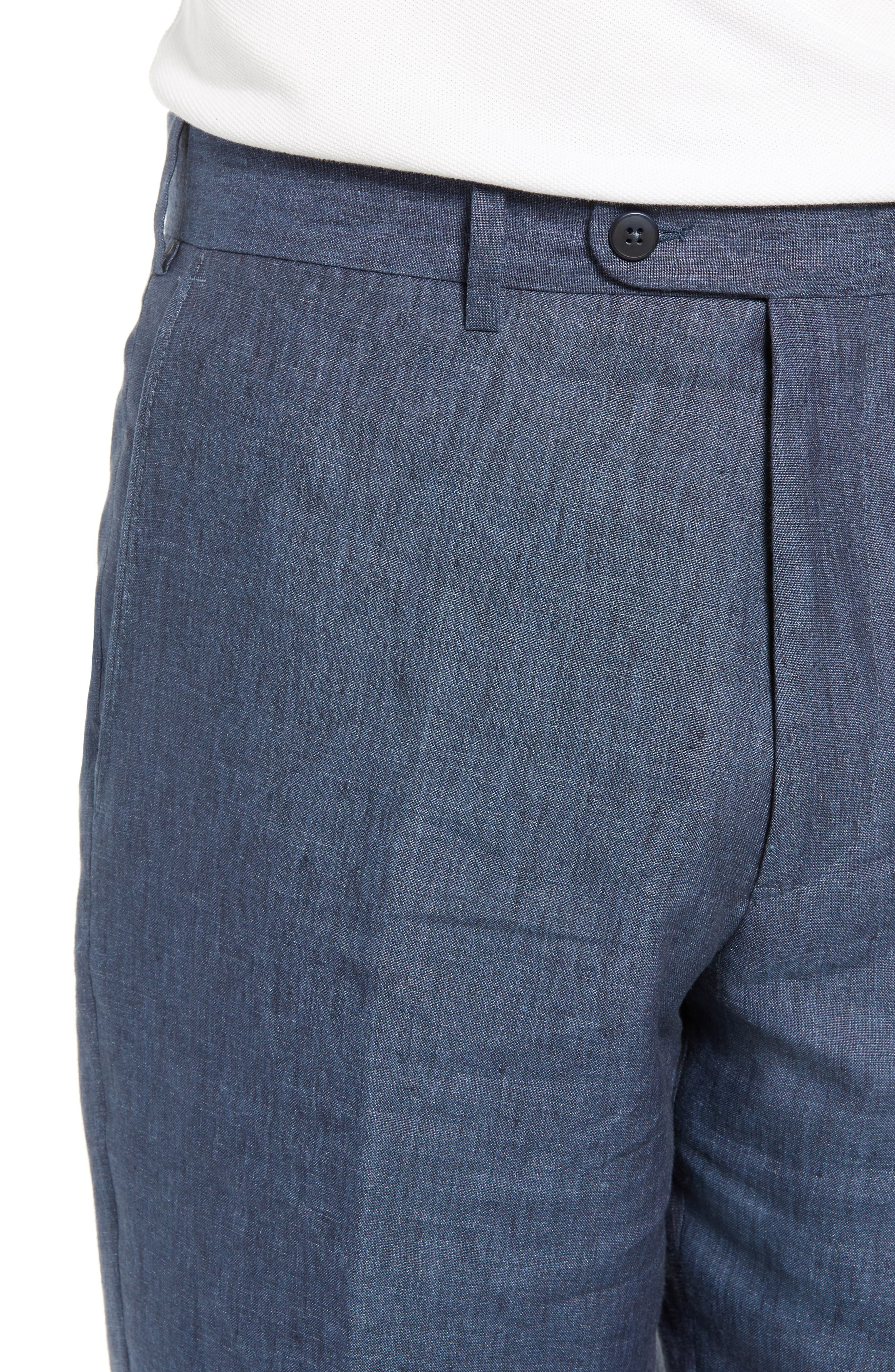JOHN W. NORDSTROM<SUP>®</SUP>, Torino Flat Front Solid Linen Trousers, Alternate thumbnail 4, color, 420