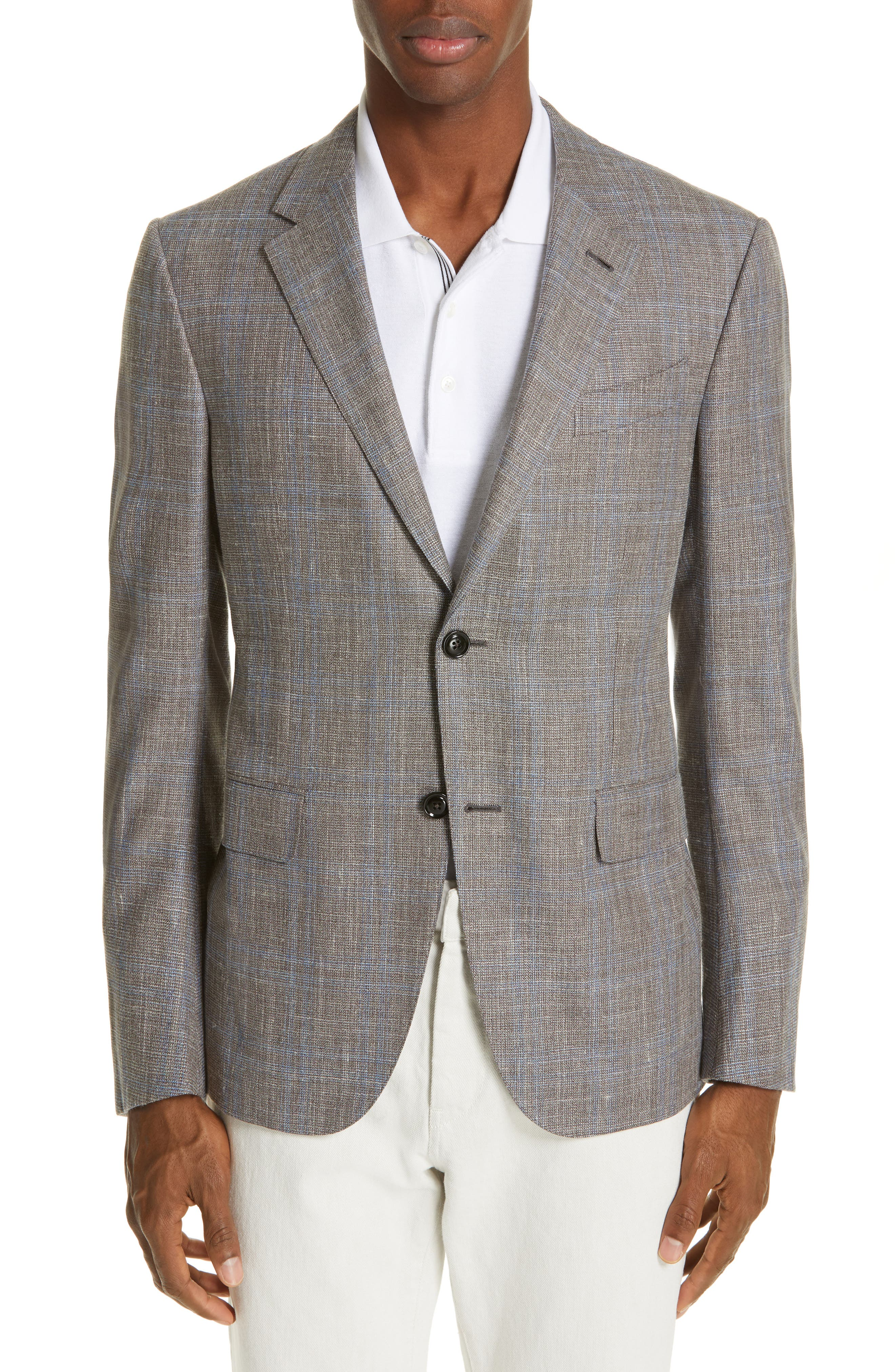 ERMENEGILDO ZEGNA, Milano Classic Fit Plaid Wool Blend Sport Coat, Main thumbnail 1, color, GREY