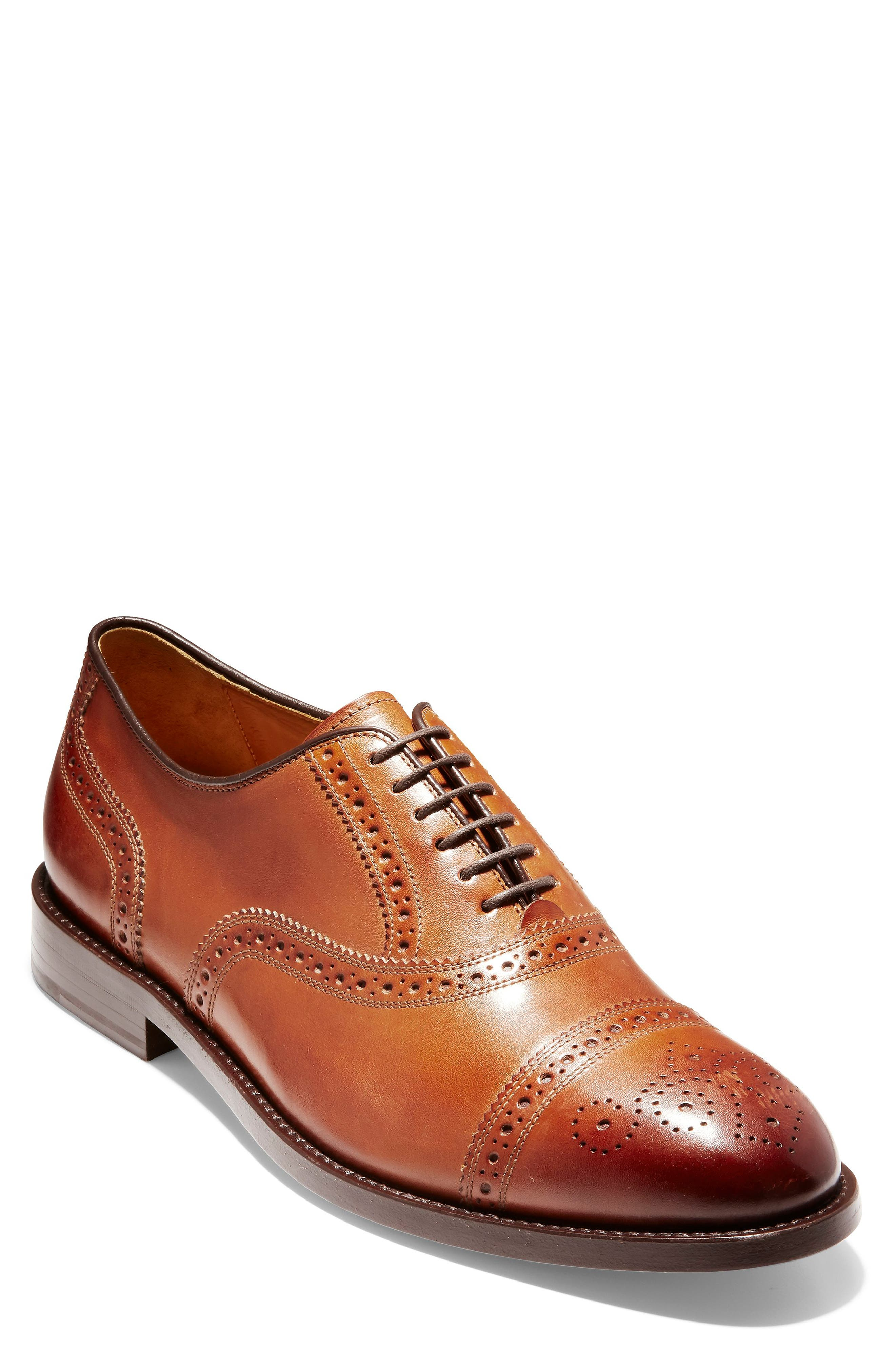 COLE HAAN, American Classics Kneeland Cap Toe Oxford, Main thumbnail 1, color, BRITISH TAN LEATHER