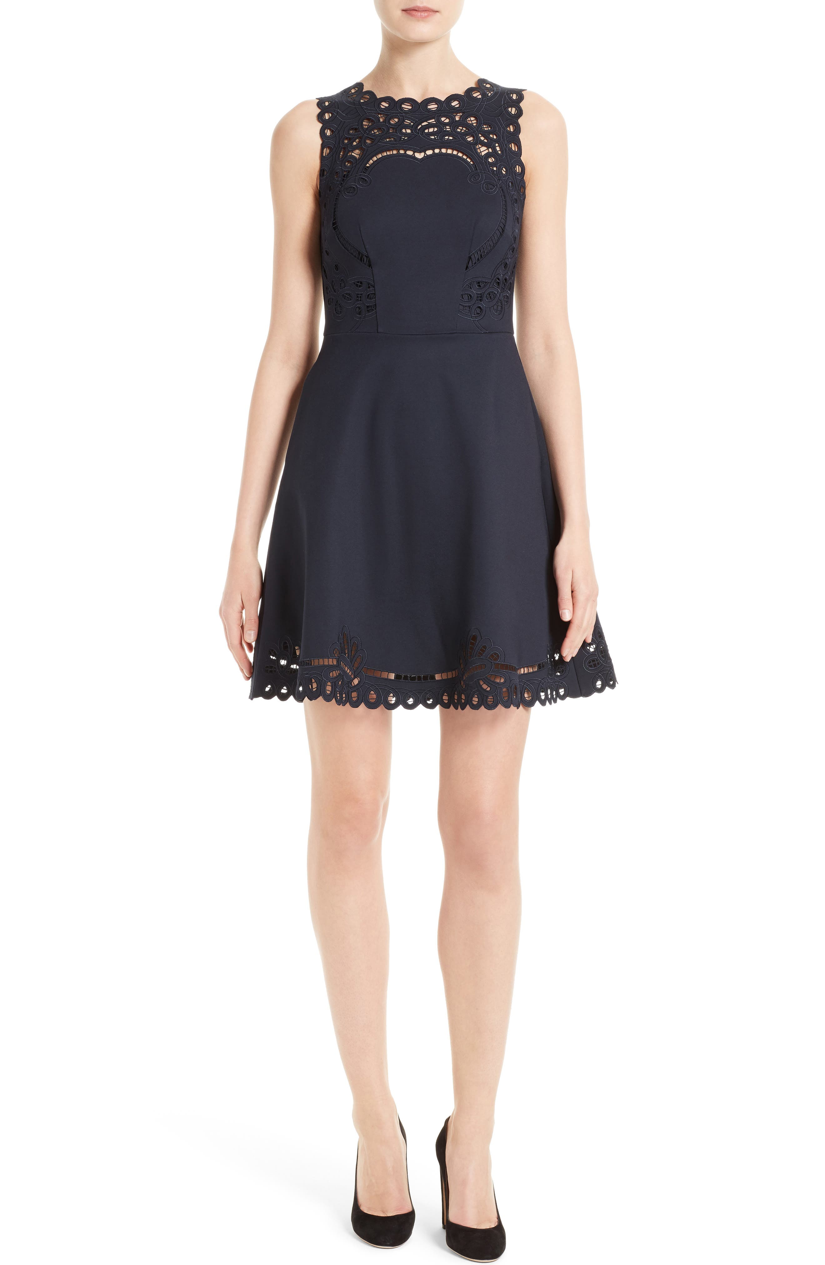 TED BAKER LONDON, Verony Eyelet Fit & Flare Dress, Main thumbnail 1, color, 402