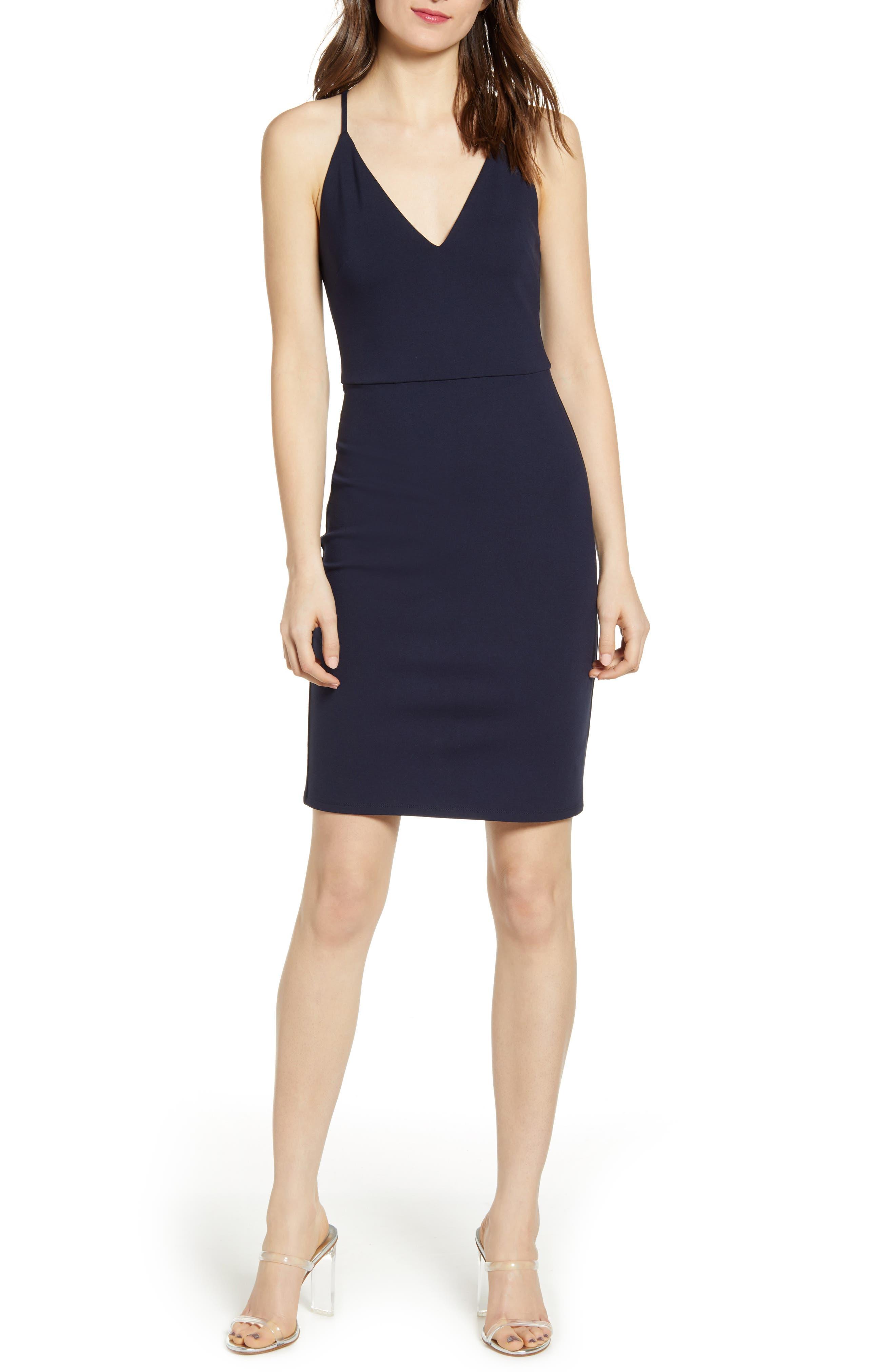 Socialite V-Neck Crossback Sheath Dress, Blue