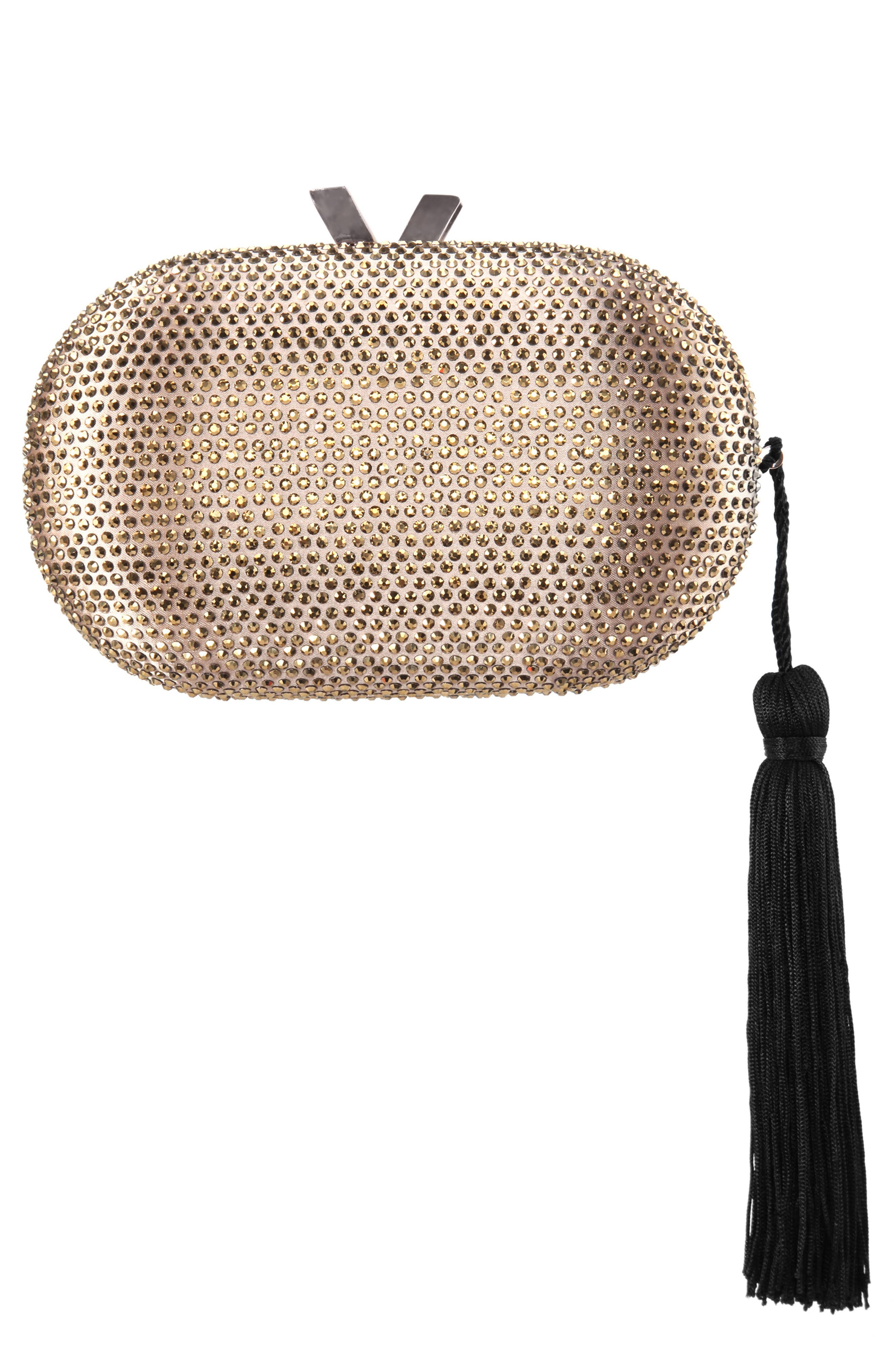 NINA Oval Minaudière with Tassel, Main, color, DARK GOLD