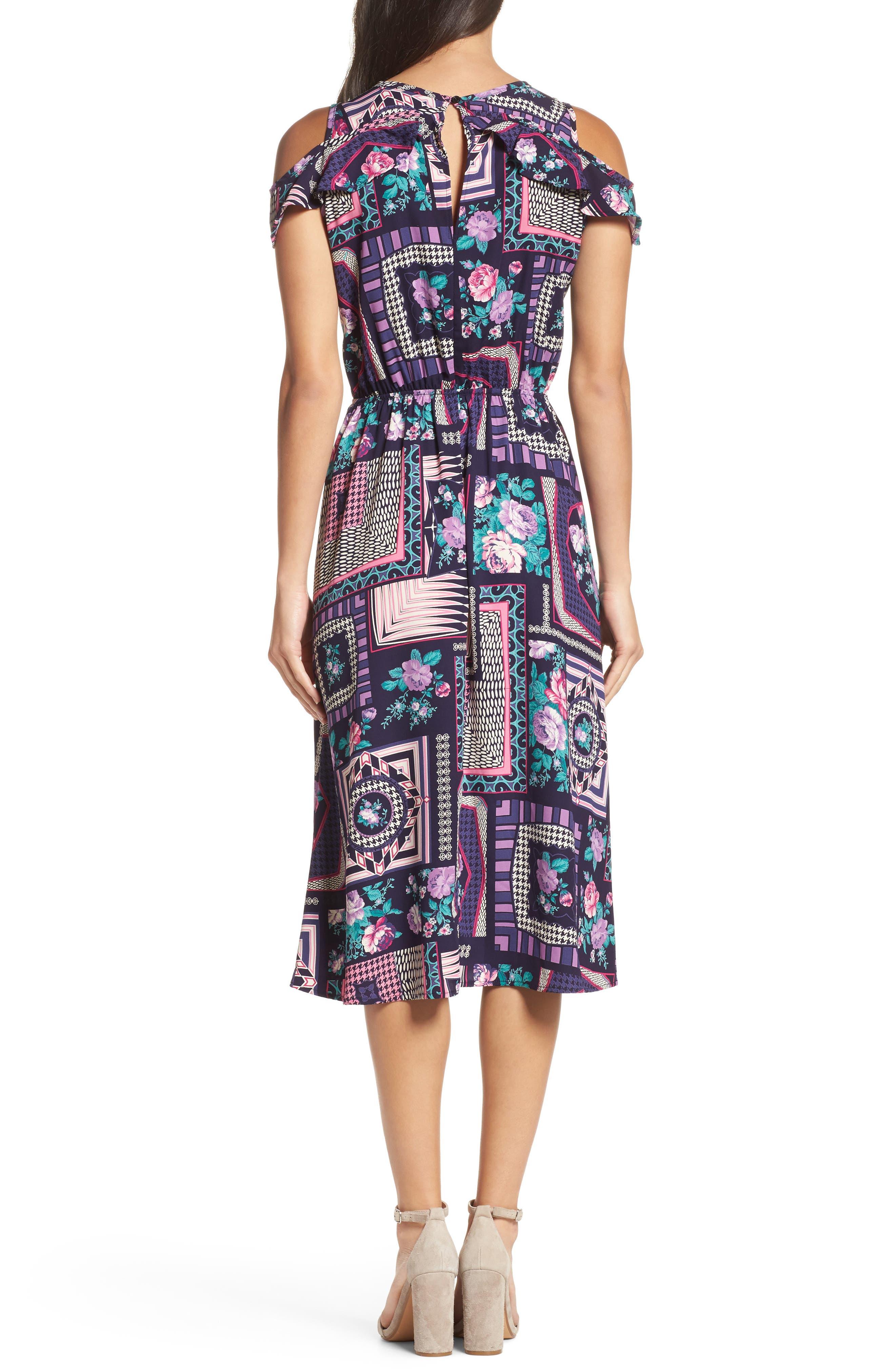 FRAICHE BY J, Ruffle Cold Shoulder Dress, Alternate thumbnail 2, color, CASSIE