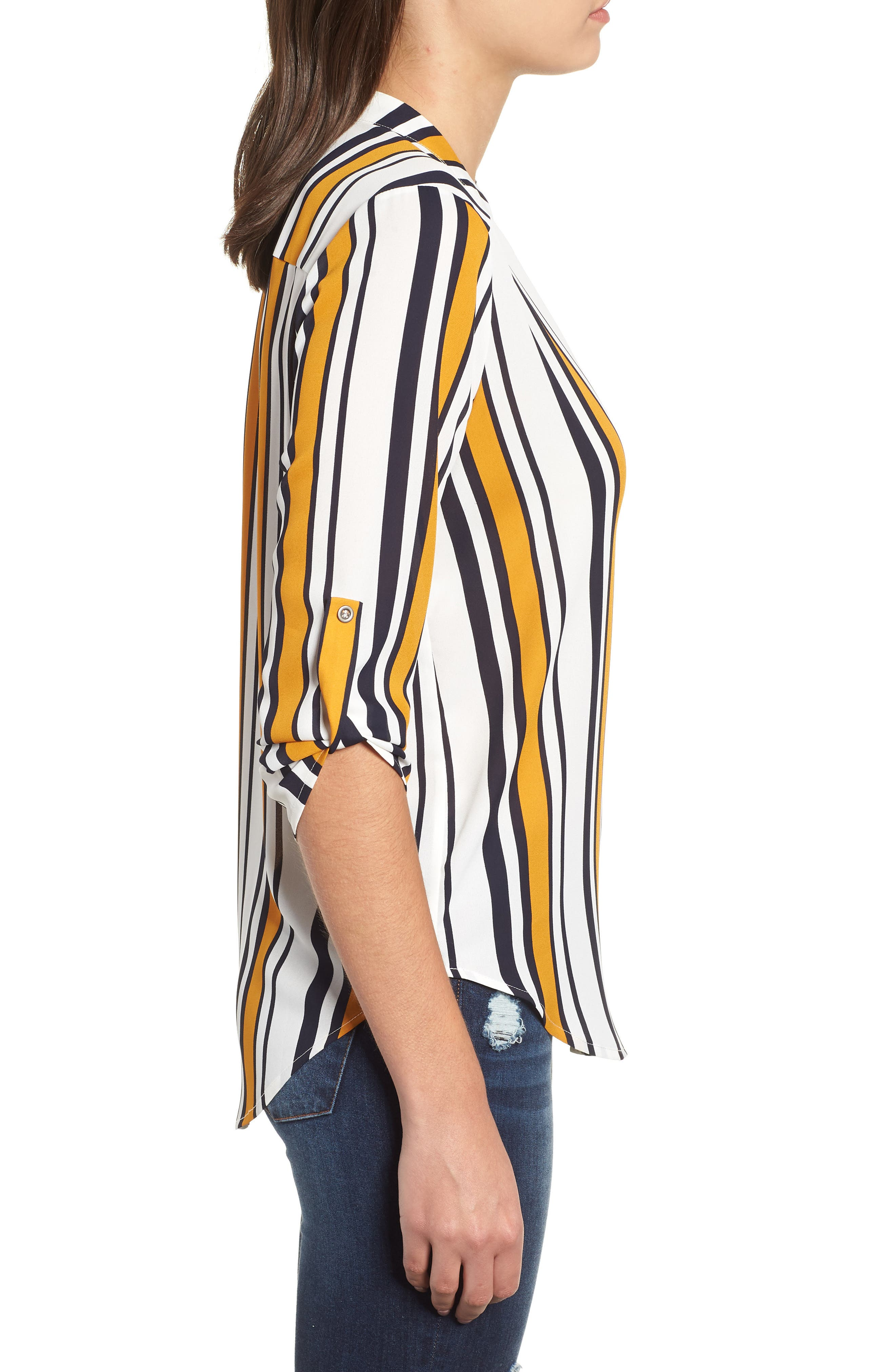 ---, Roll Tab Sleeve Woven Shirt, Alternate thumbnail 3, color, 101
