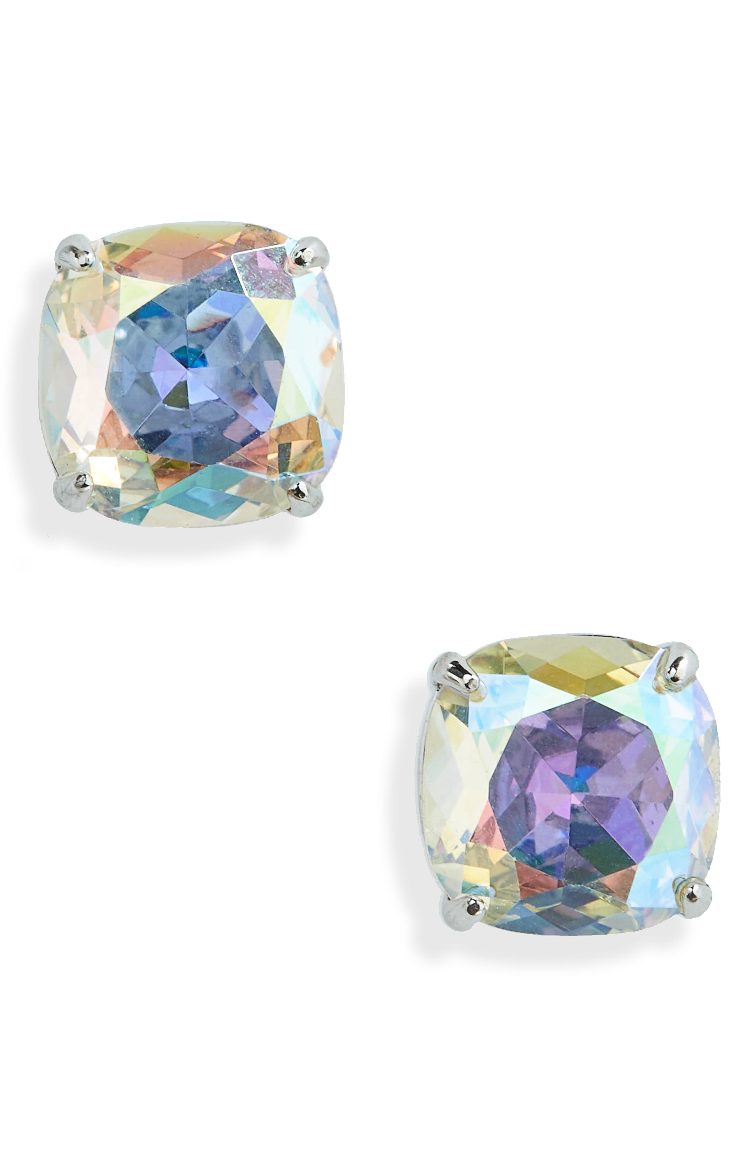 KATE SPADE NEW YORK, mini small square semiprecious stone stud earrings, Main thumbnail 1, color, CRYSTAL AB/ SILVER