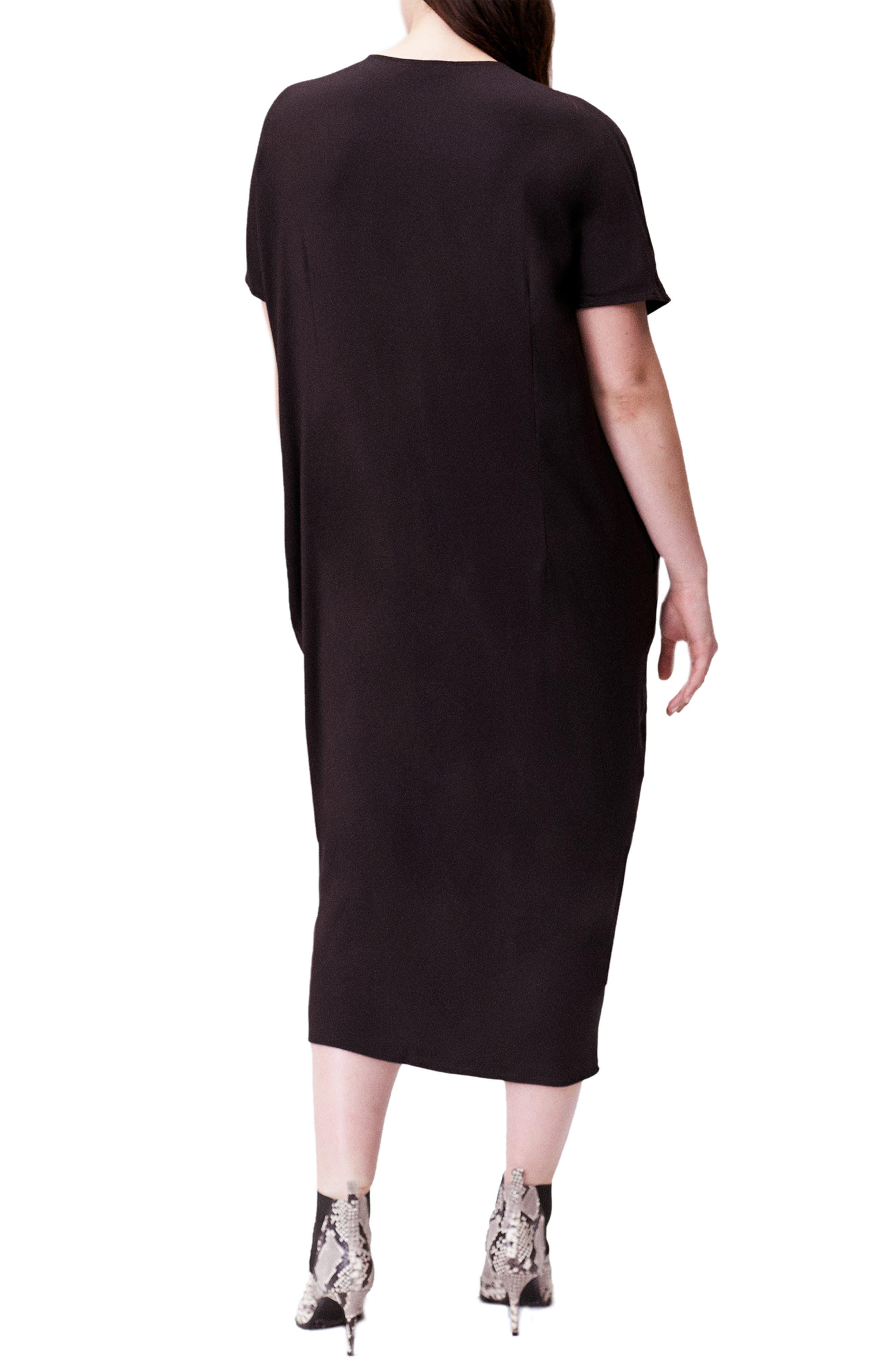 UNIVERSAL STANDARD, Crosby Caftan Dress, Alternate thumbnail 2, color, BLACK
