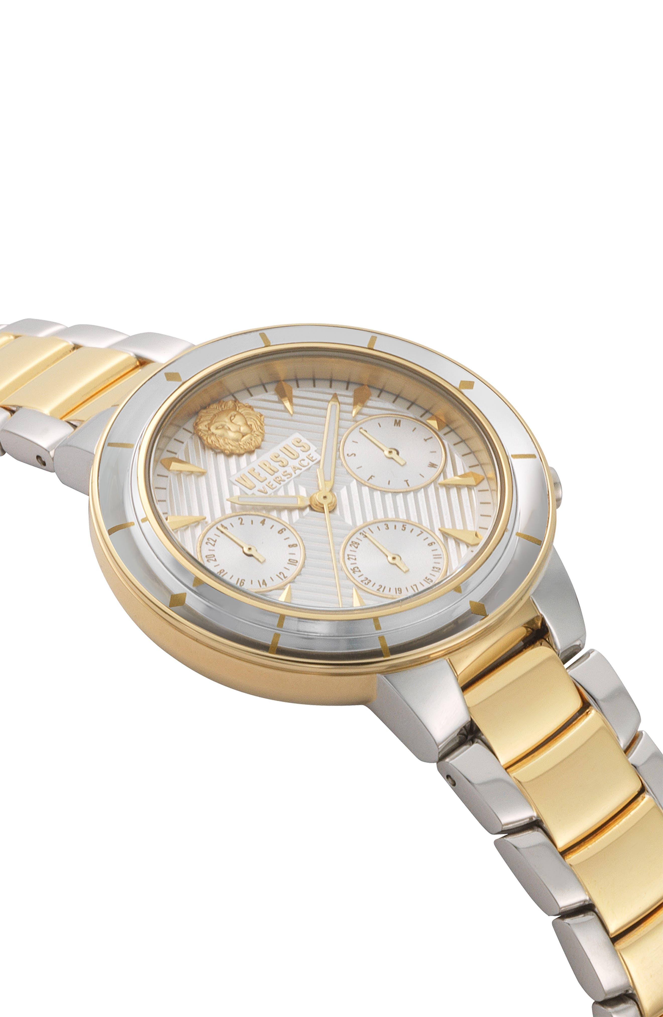 VERSUS VERSACE, Harbour Heights Chronograph Bracelet Watch, 38mm, Alternate thumbnail 3, color, SILVER/ GOLD