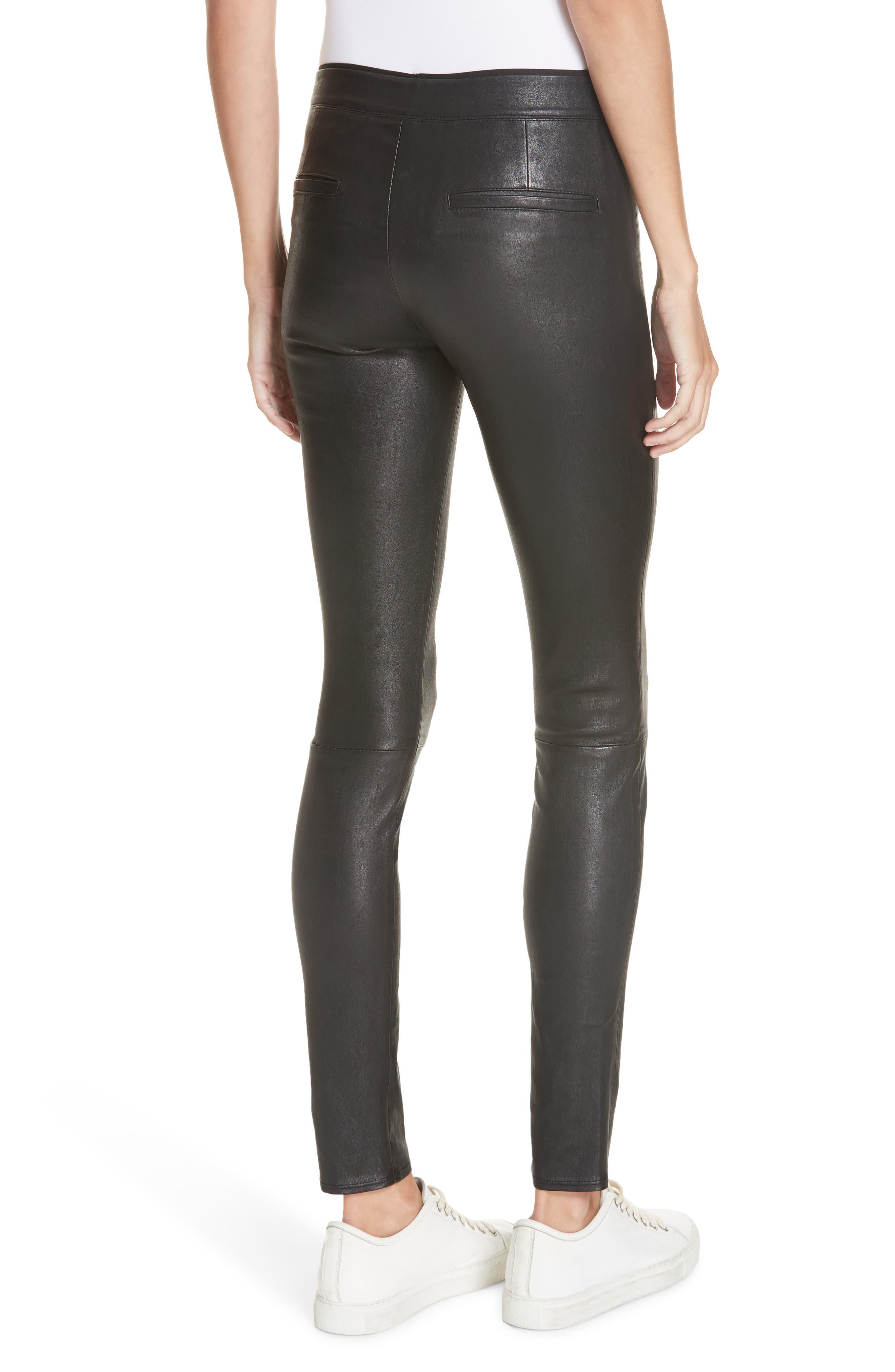 HELMUT LANG, Stretch Lambskin Leather Leggings, Alternate thumbnail 2, color, BLACK