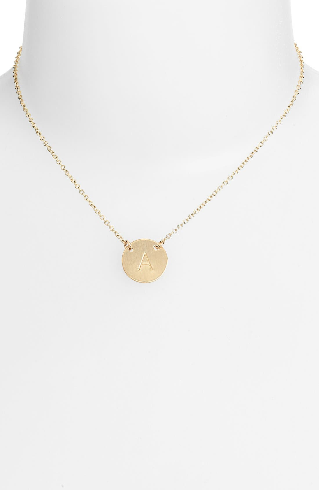 NASHELLE, 14k-Gold Fill Anchored Initial Disc Necklace, Alternate thumbnail 2, color, 14K GOLD FILL A