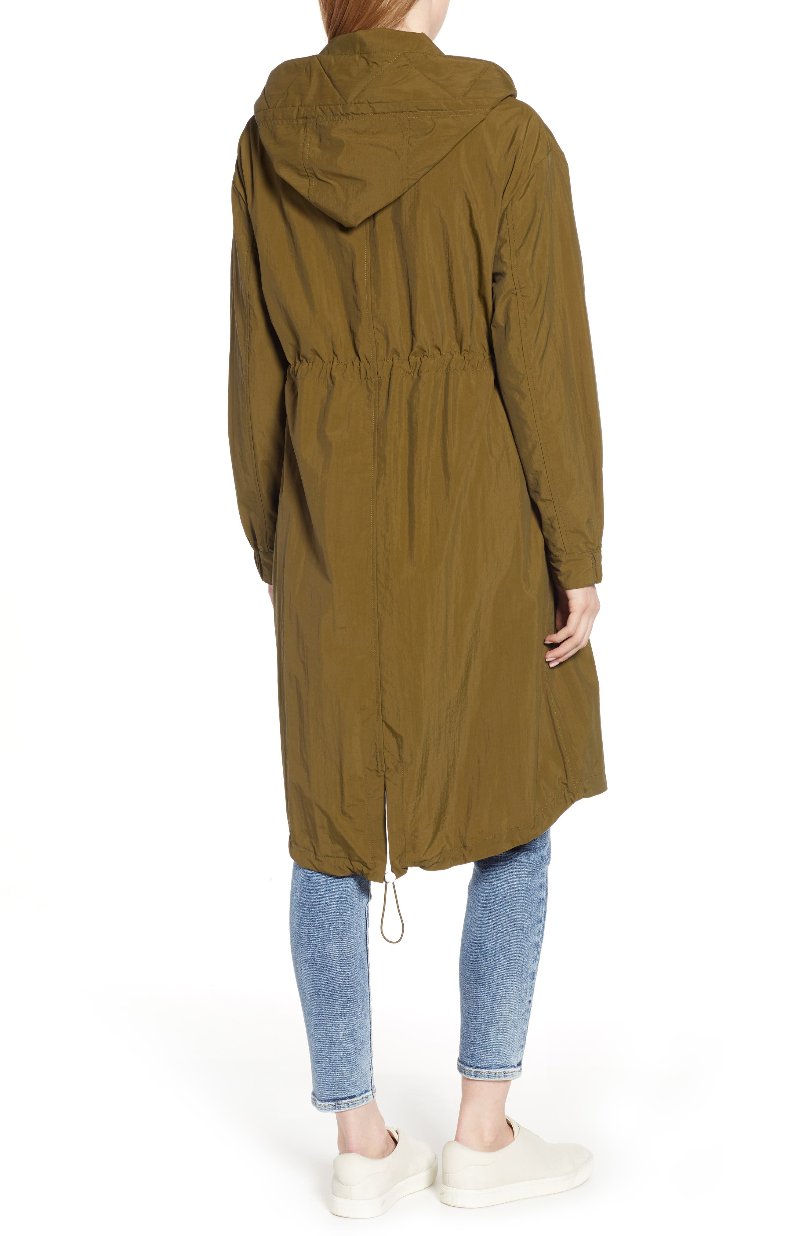 KENNETH COLE NEW YORK, Hooded Parka, Alternate thumbnail 2, color, OLIVE