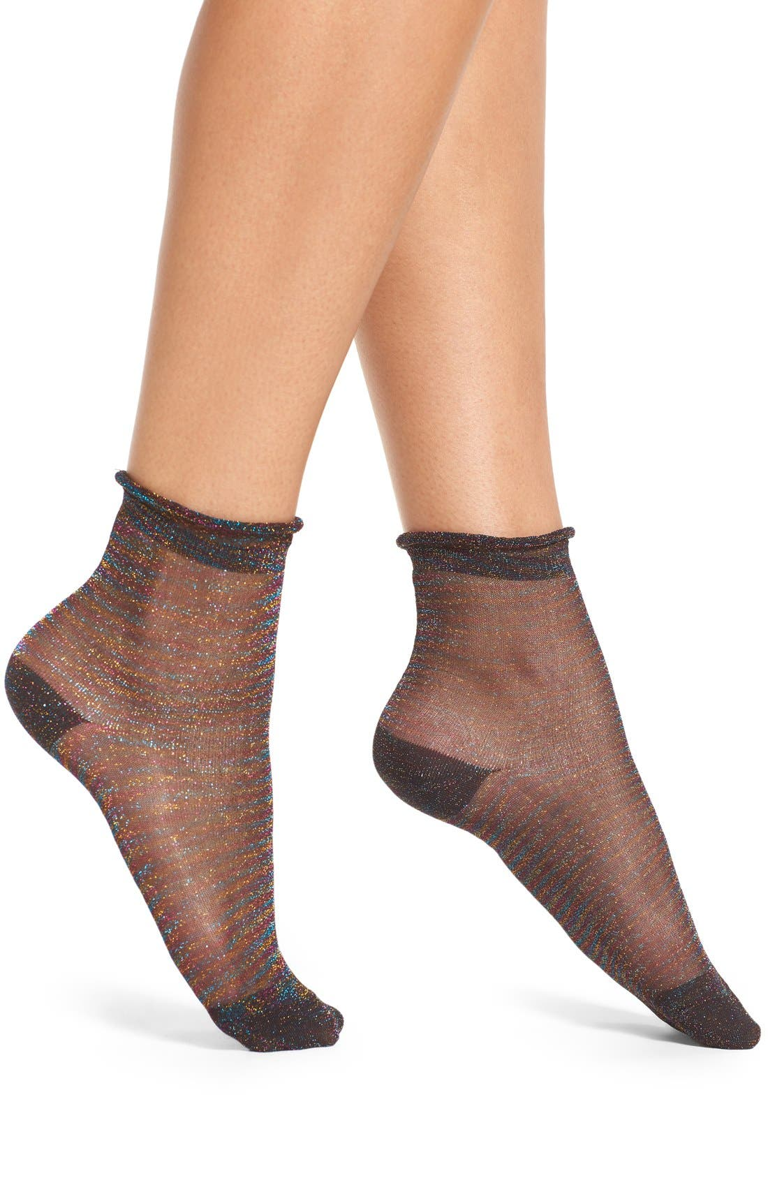 FREE PEOPLE, Glimmer Oasis Ankle Socks, Main thumbnail 1, color, 001