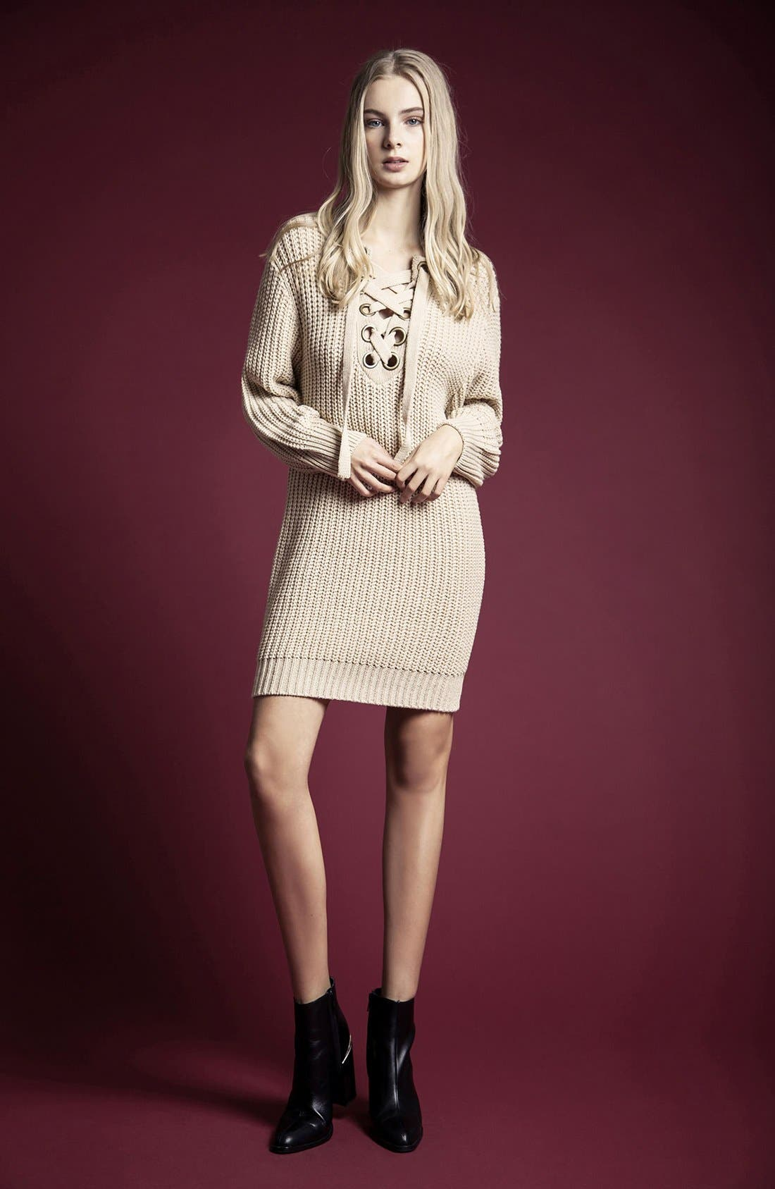 MOON RIVER, Lace-Up Sweater Dress, Alternate thumbnail 6, color, 230