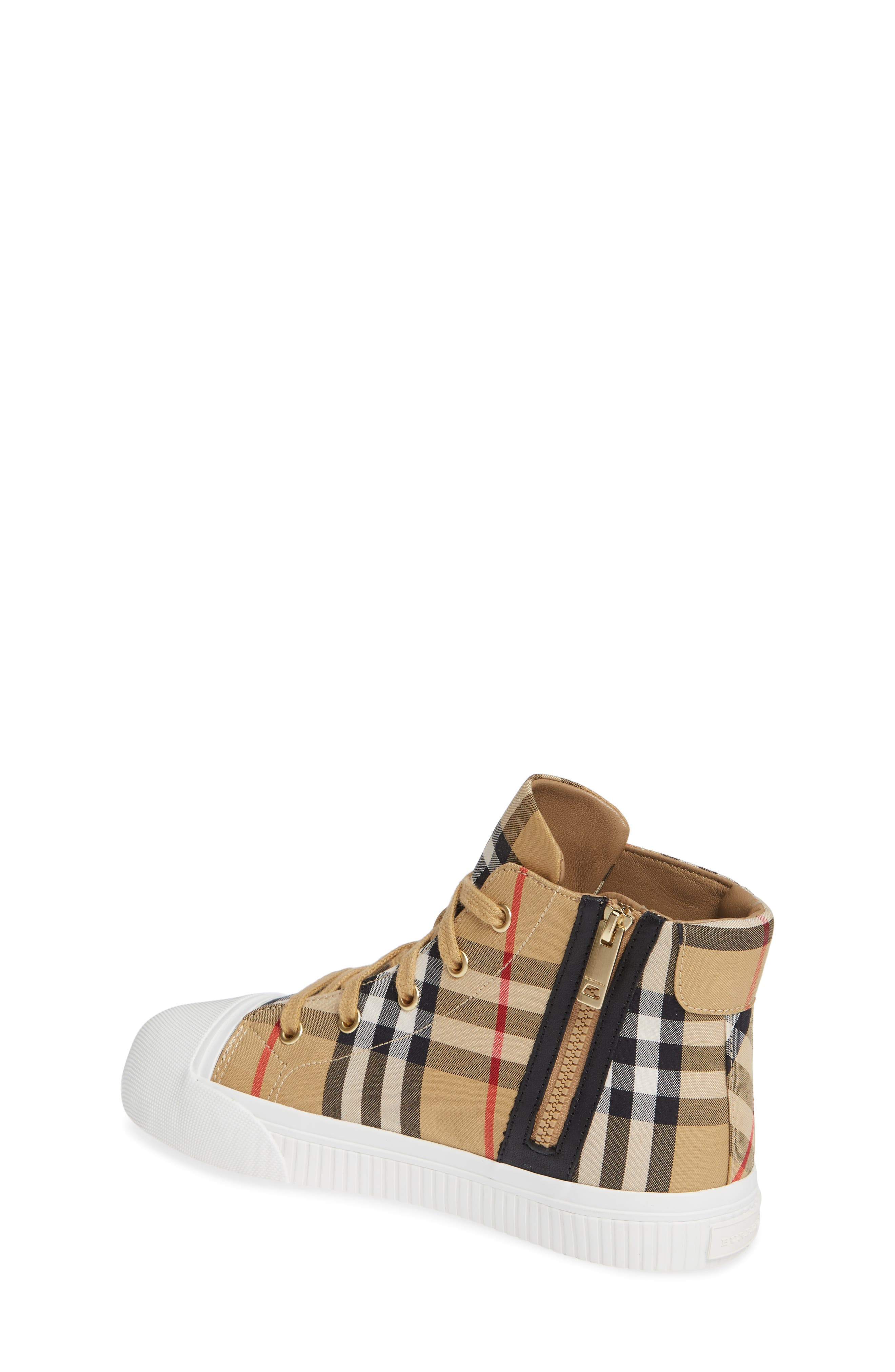 BURBERRY, Belford High-Top Sneaker, Alternate thumbnail 2, color, ANTIQUE YELLOW/ OPTIC WHITE