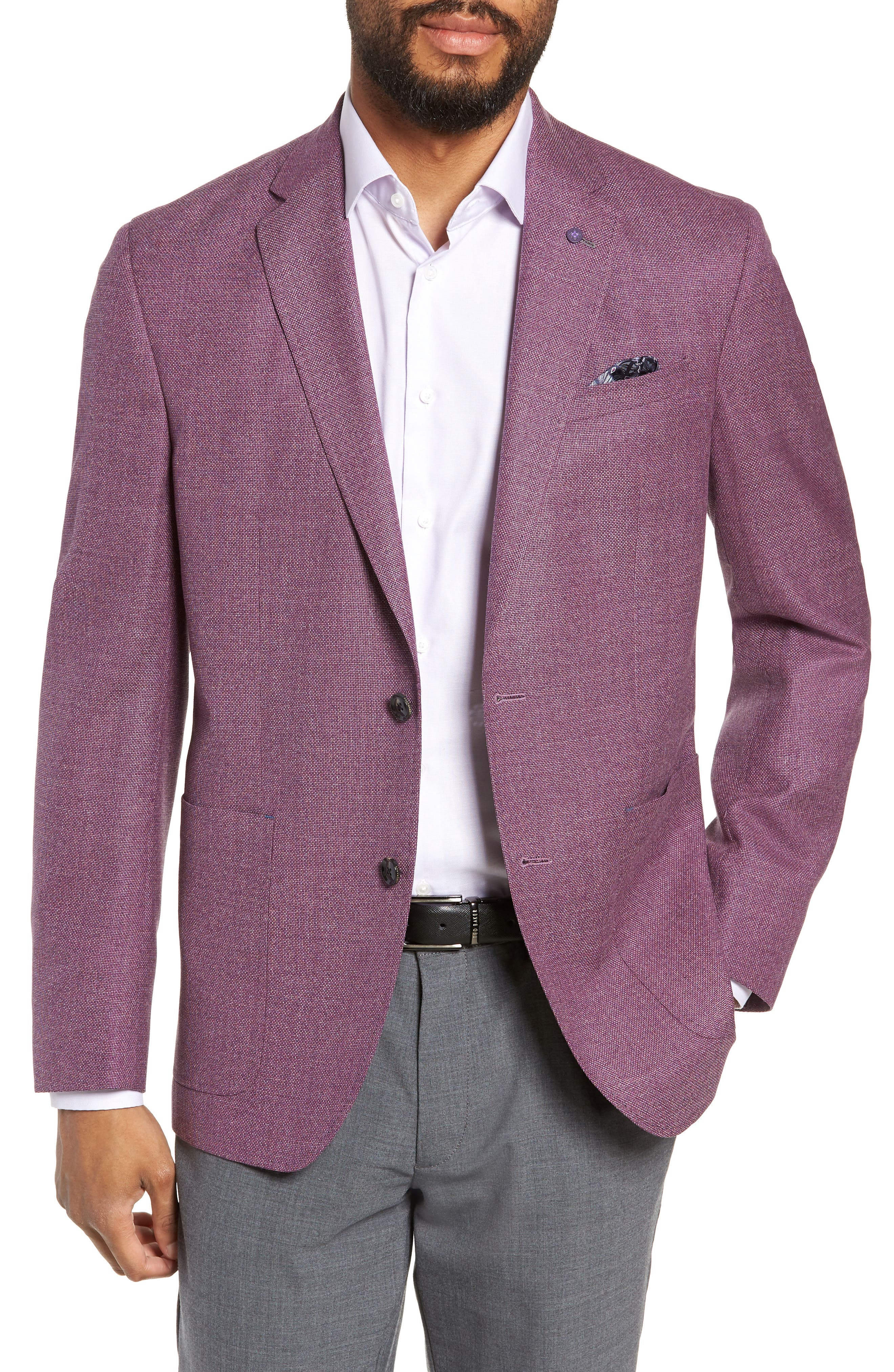 TED BAKER LONDON, Kyle Trim Fit Wool Sport Coat, Main thumbnail 1, color, BERRY