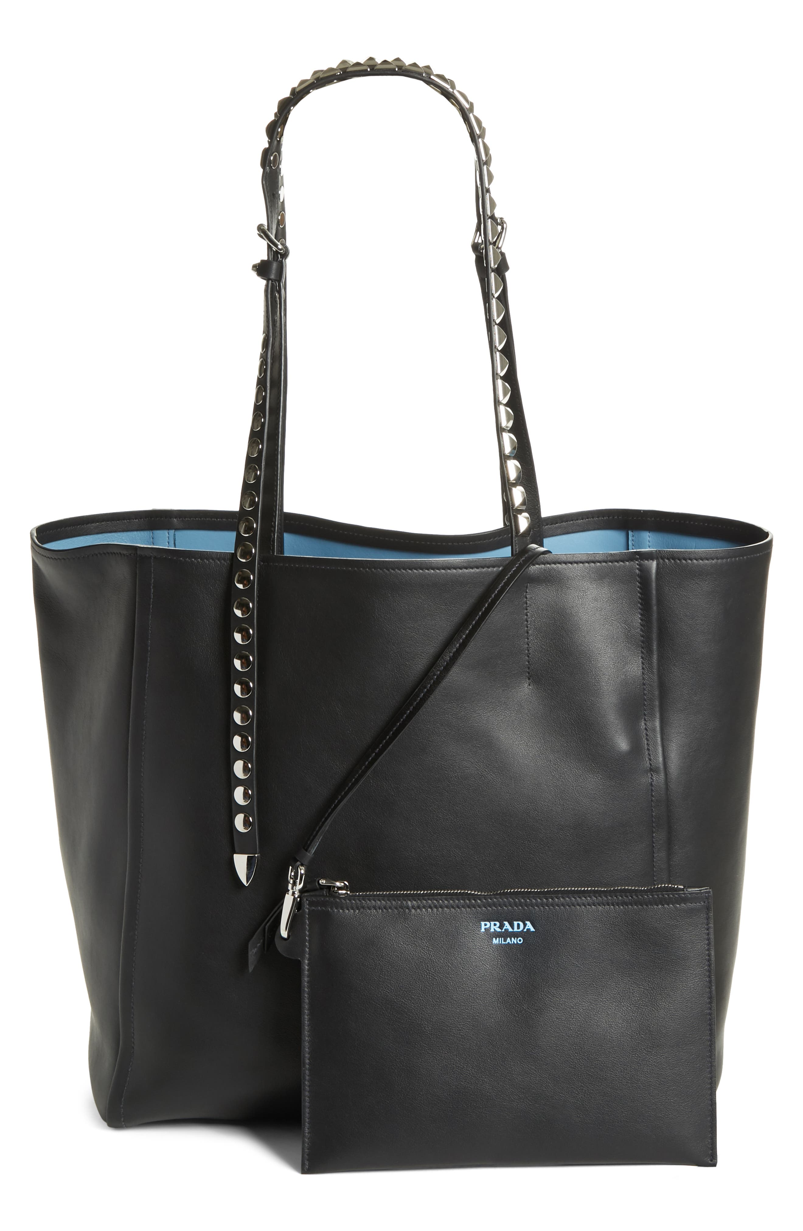 PRADA, Concept Studded Strap Calfskin Leather Tote, Alternate thumbnail 3, color, 001
