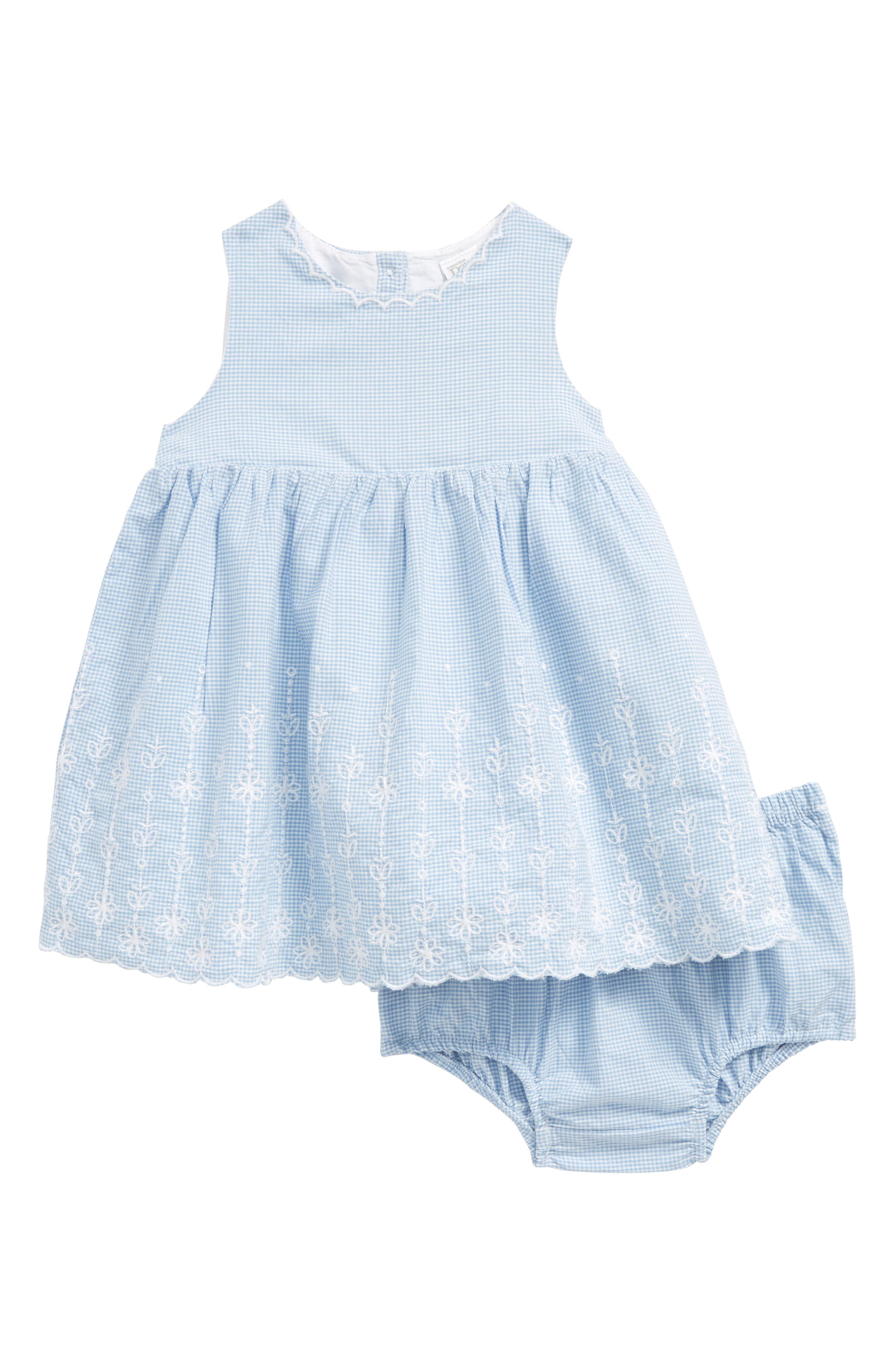 NORDSTROM BABY, Embroidered Mini Check Dress, Main thumbnail 1, color, WHITE- BLUE MINI CHECK