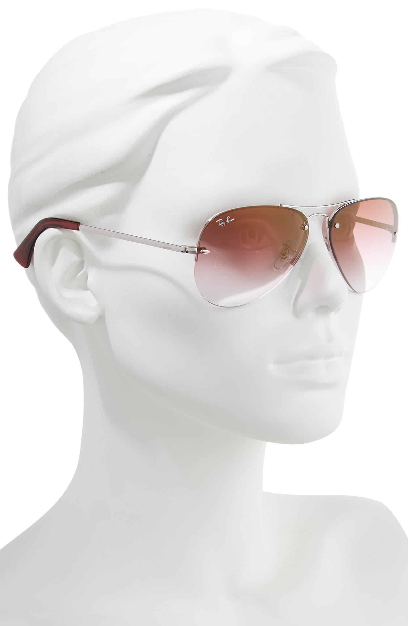 RAY-BAN, Highstreet 59mm Semi Rimless Aviator Sunglasses, Alternate thumbnail 2, color, SILVER/ BORDEAUX GRADIENT