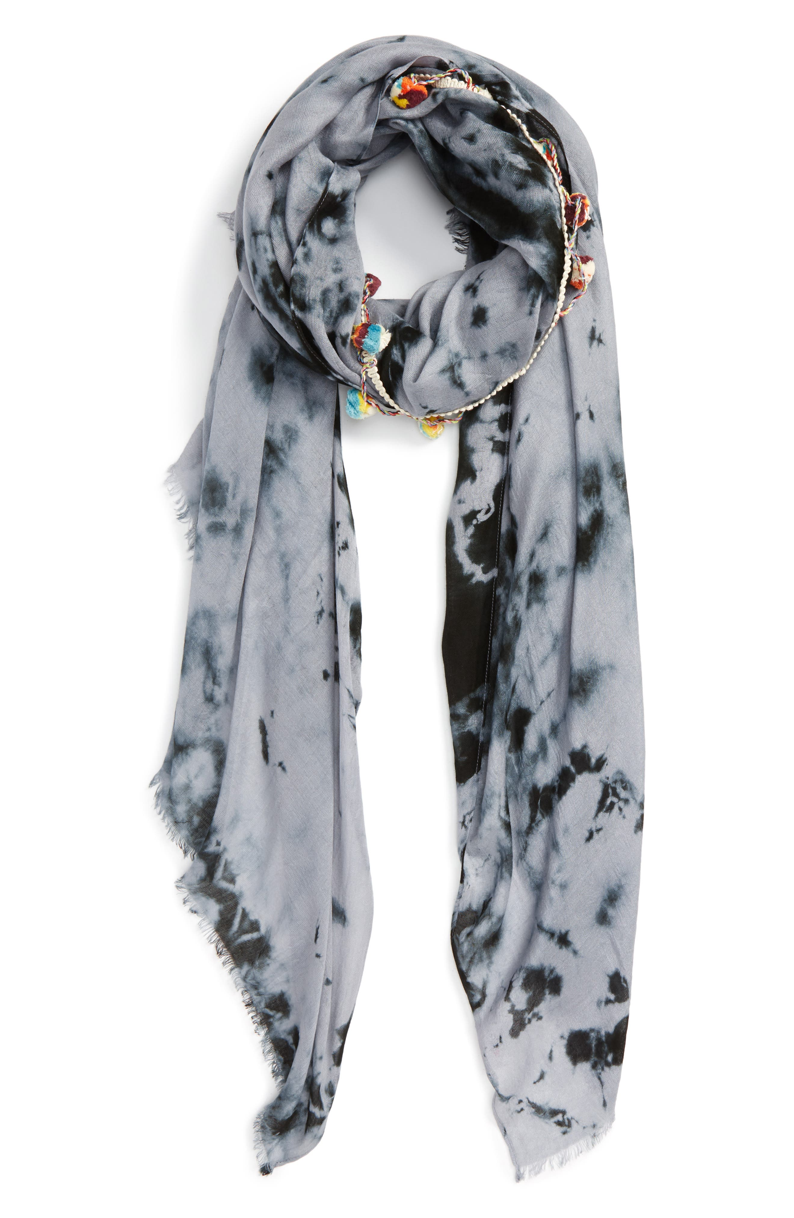 LULLA COLLECTION BY BINDYA, Pom Pom Trim Scarf, Main thumbnail 1, color, 001