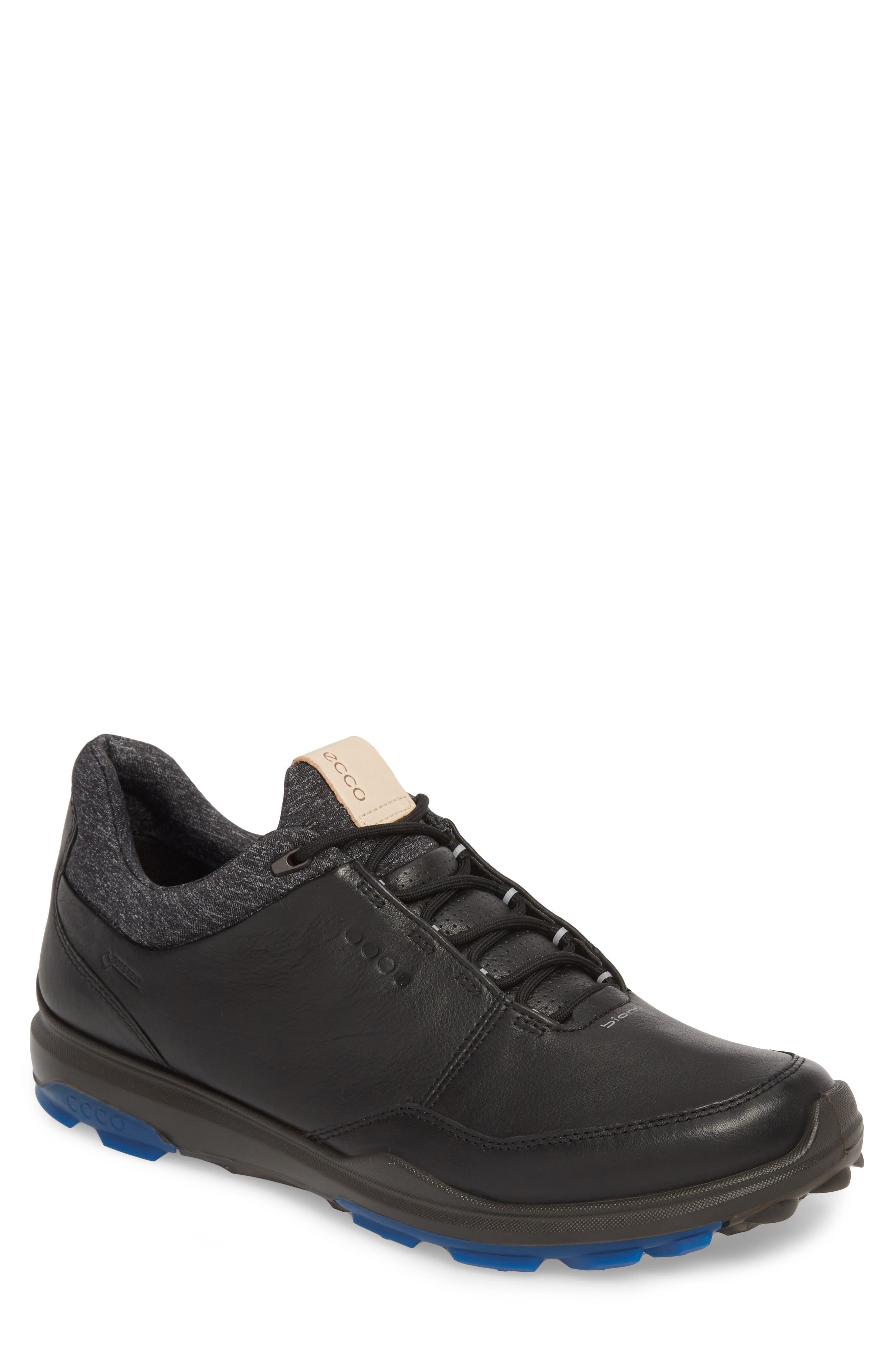 ECCO BIOM Hybrid 3 Gore-Tex<sup>®</sup> Golf Shoe, Main, color, BLACK/ BERMUDA BLUE LEATHER