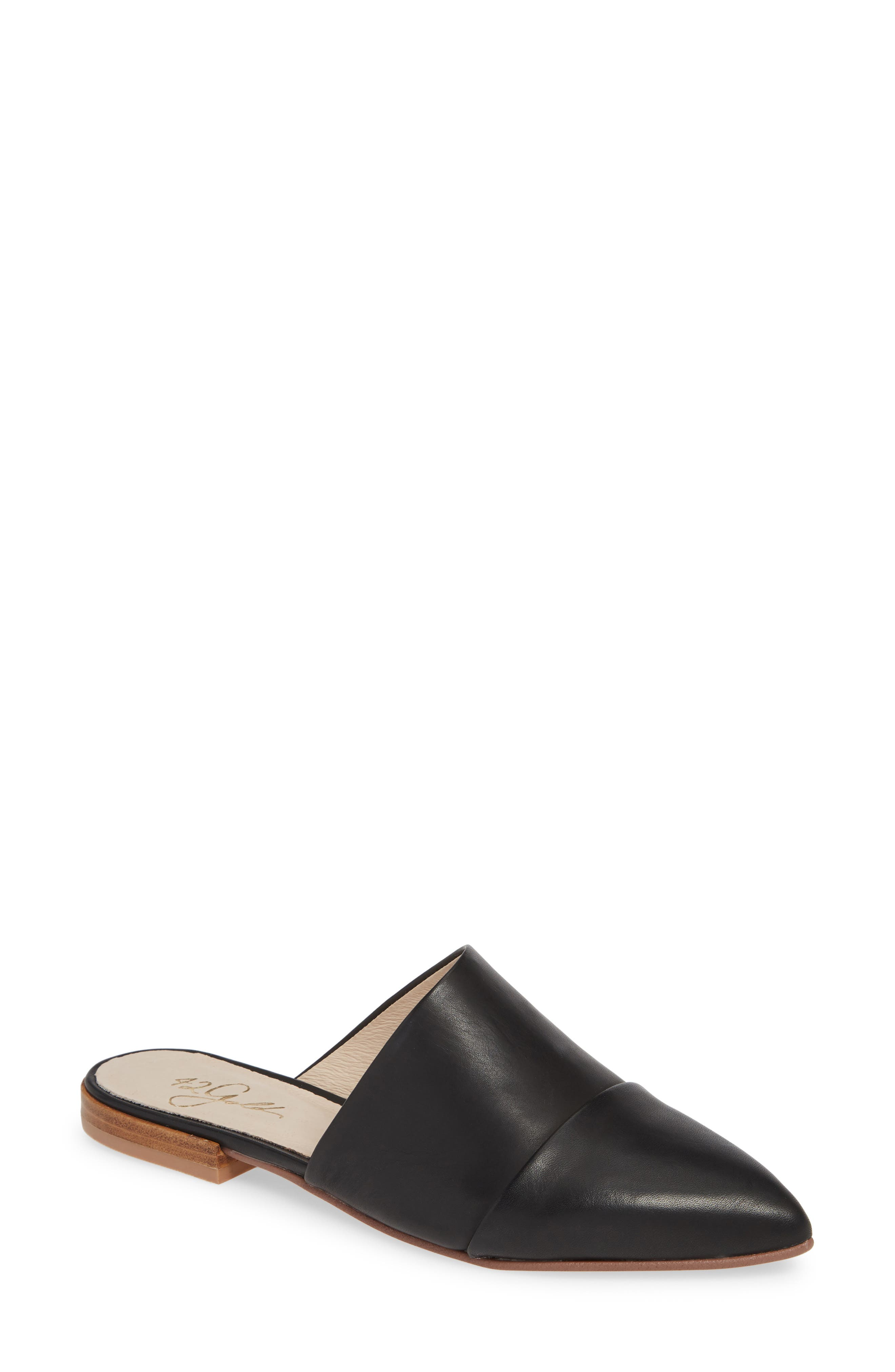 42 GOLD Castle Cap Toe Mule, Main, color, BLACK LEATHER
