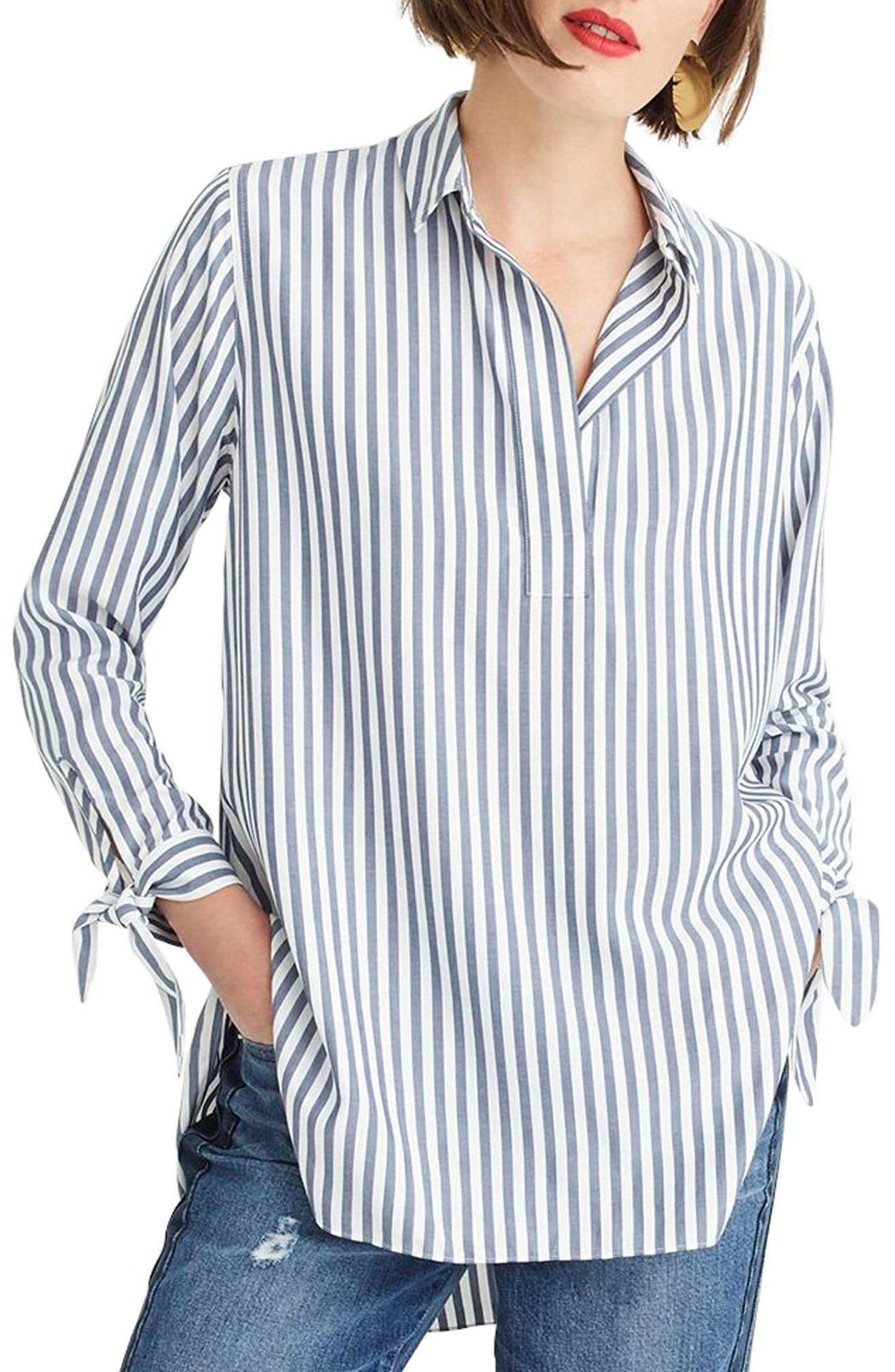 J.CREW, Collared Tie-Sleeve Popover Stripe Shirt, Main thumbnail 1, color, 400