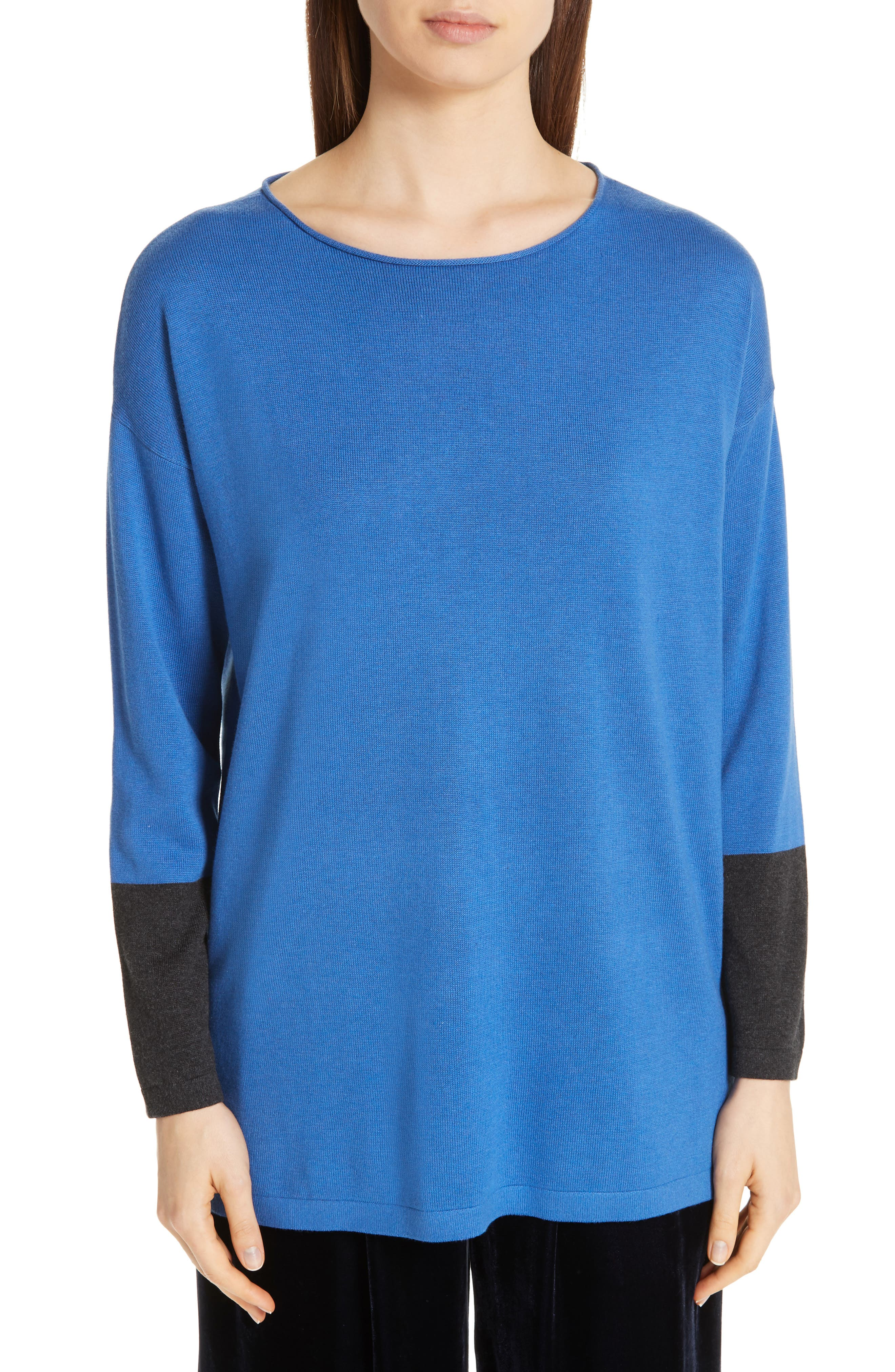 EILEEN FISHER Colorblock Sleeve Tunic, Main, color, 400