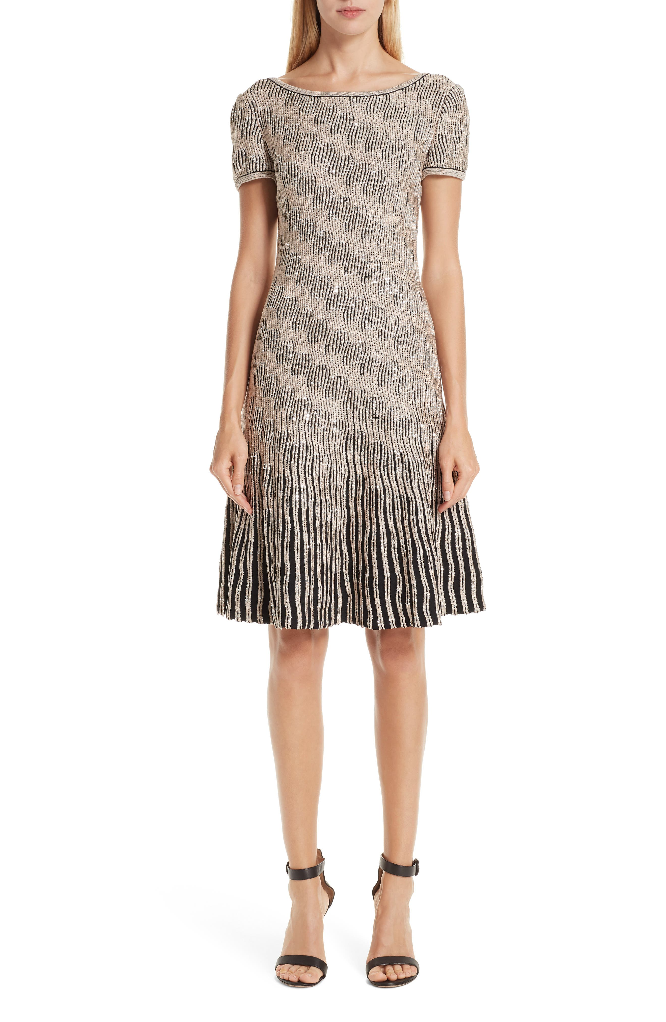 ST. JOHN COLLECTION, Inlaid Sequin Trellis Fit & Flare Dress, Main thumbnail 1, color, CAVIAR