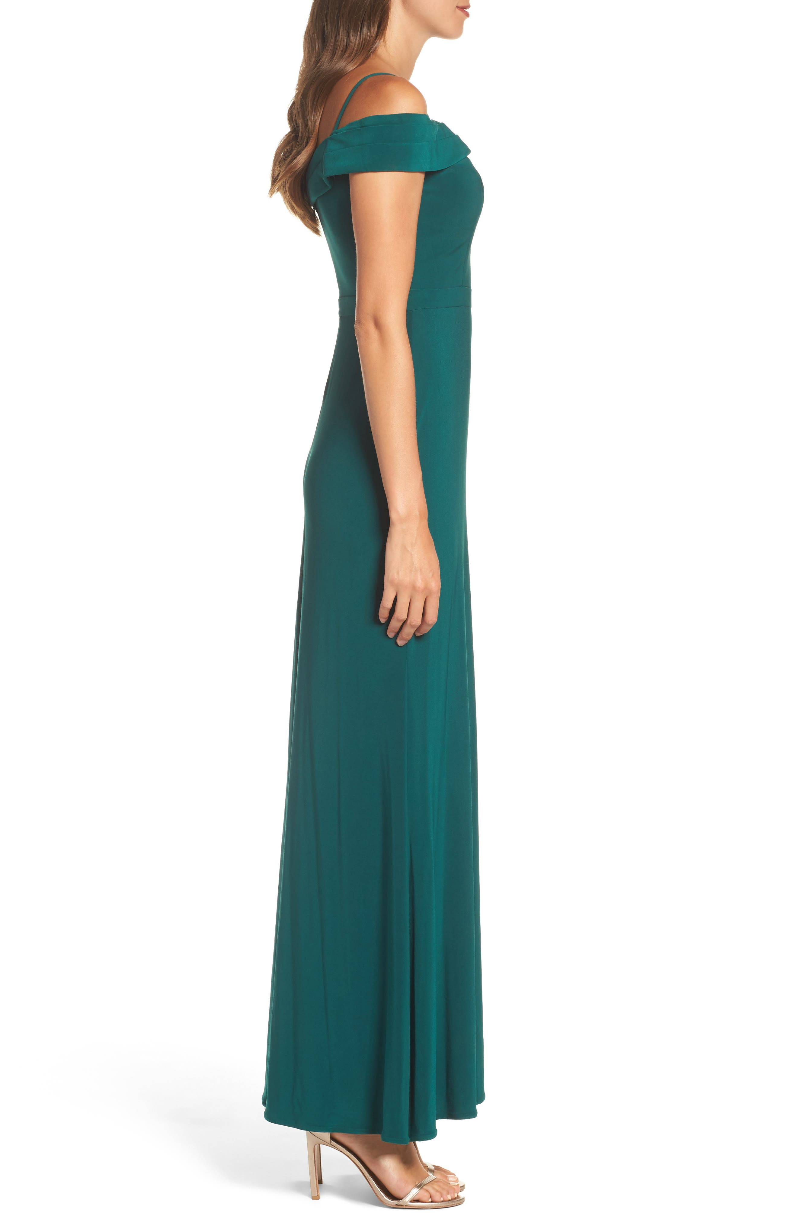 MORGAN & CO., Off the Shoulder Gown, Alternate thumbnail 3, color, PINE